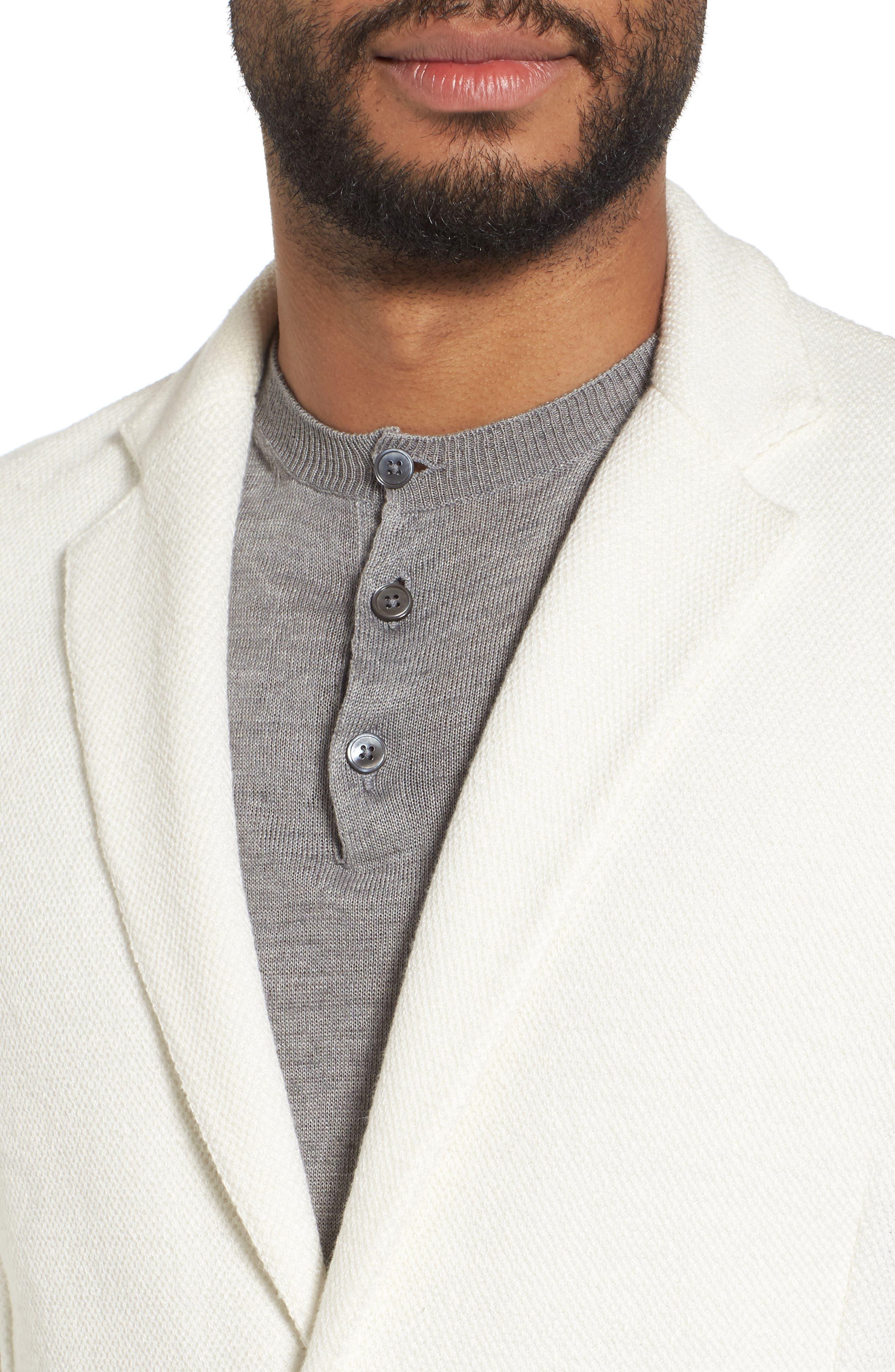 Slim Fit Linen Blend Sweater Jacket,                             Alternate thumbnail 4, color,                             102