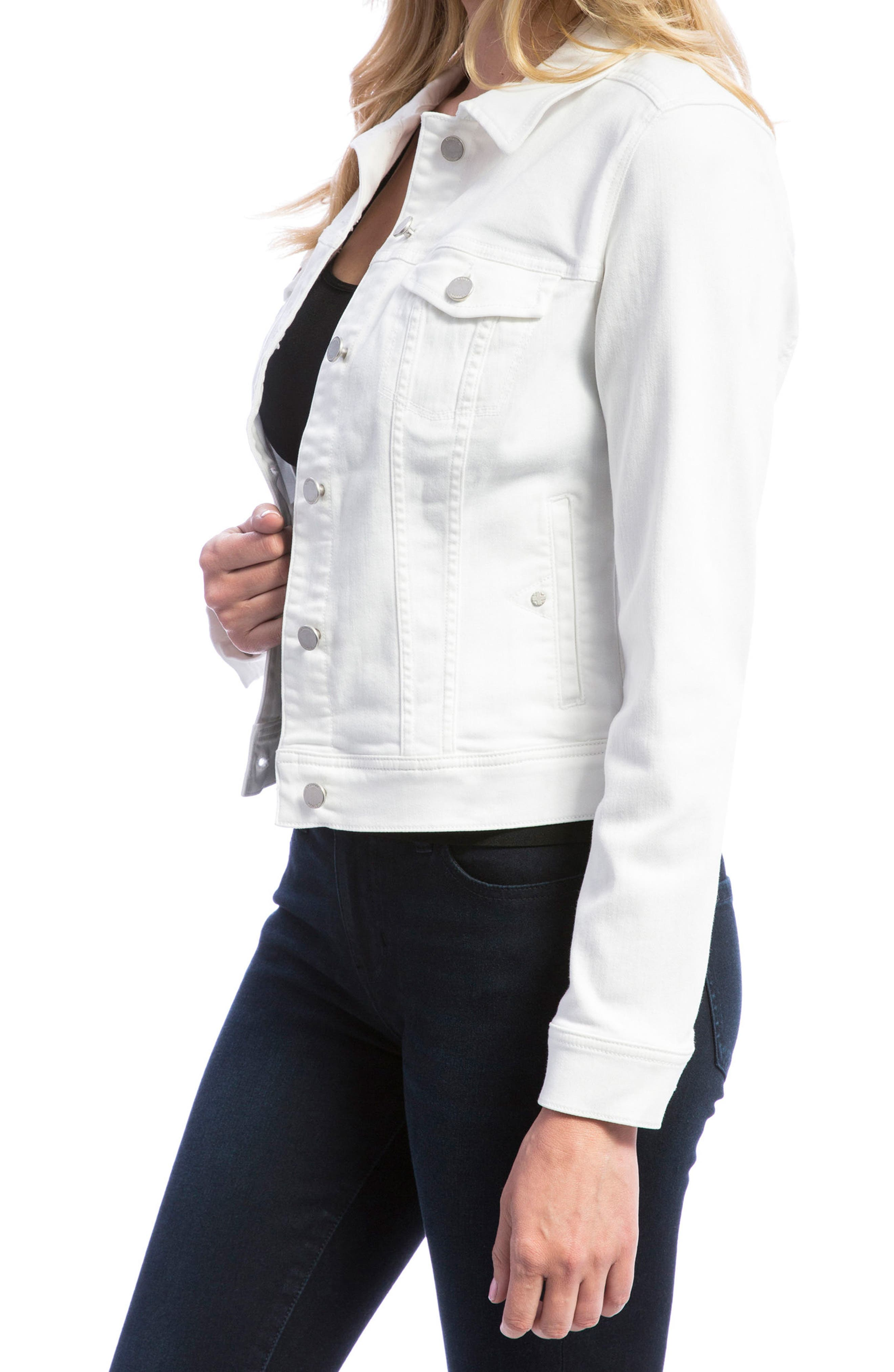 Denim Jacket,                             Alternate thumbnail 3, color,                             BRIGHT WHITE