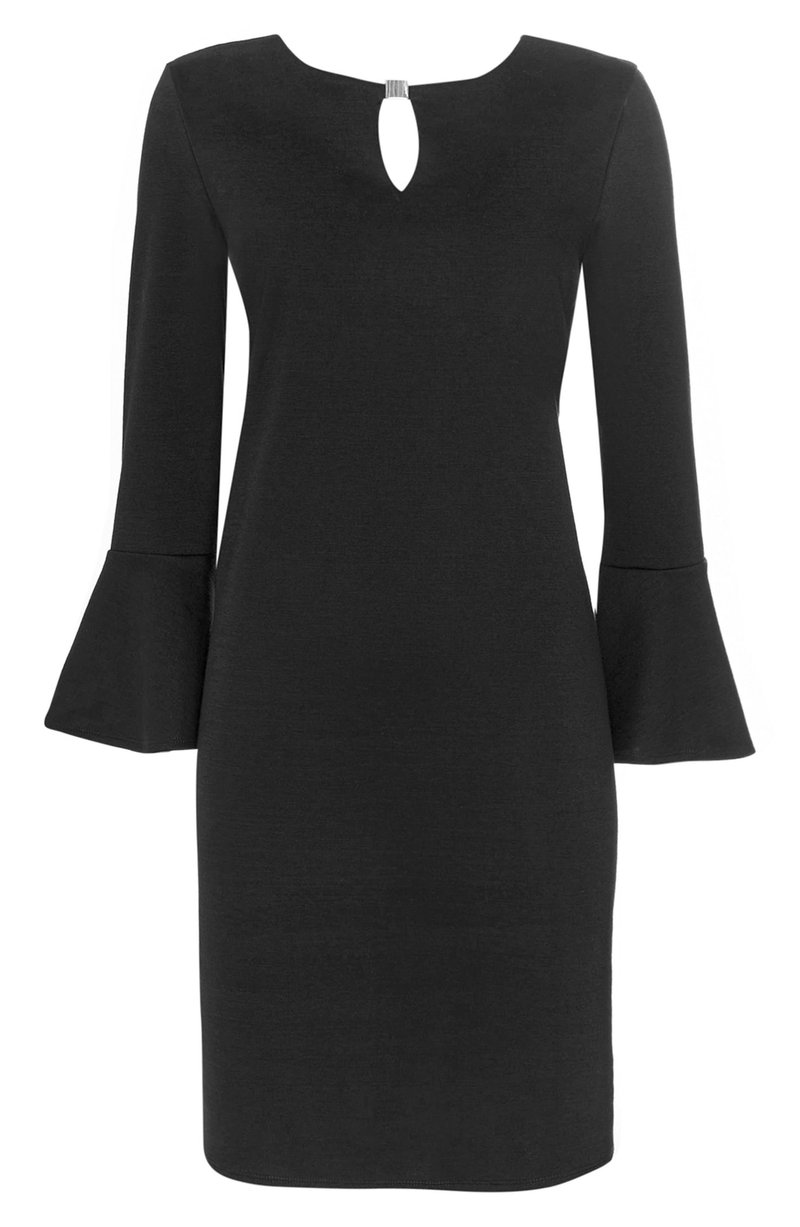 Bell Sleeve Keyhole Neck Dress,                             Alternate thumbnail 9, color,