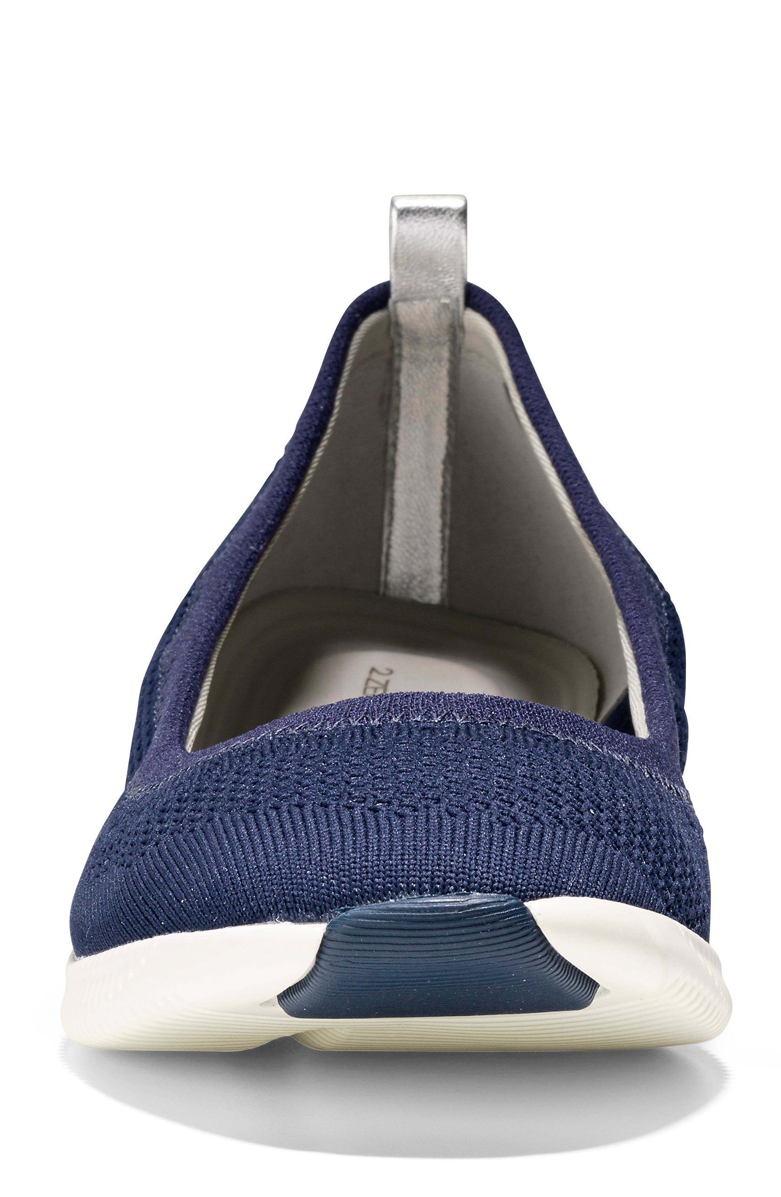 2.ZERØGRAND Stitchlite Ballet Flat,                             Alternate thumbnail 4, color,                             MARINE BLUE KNIT