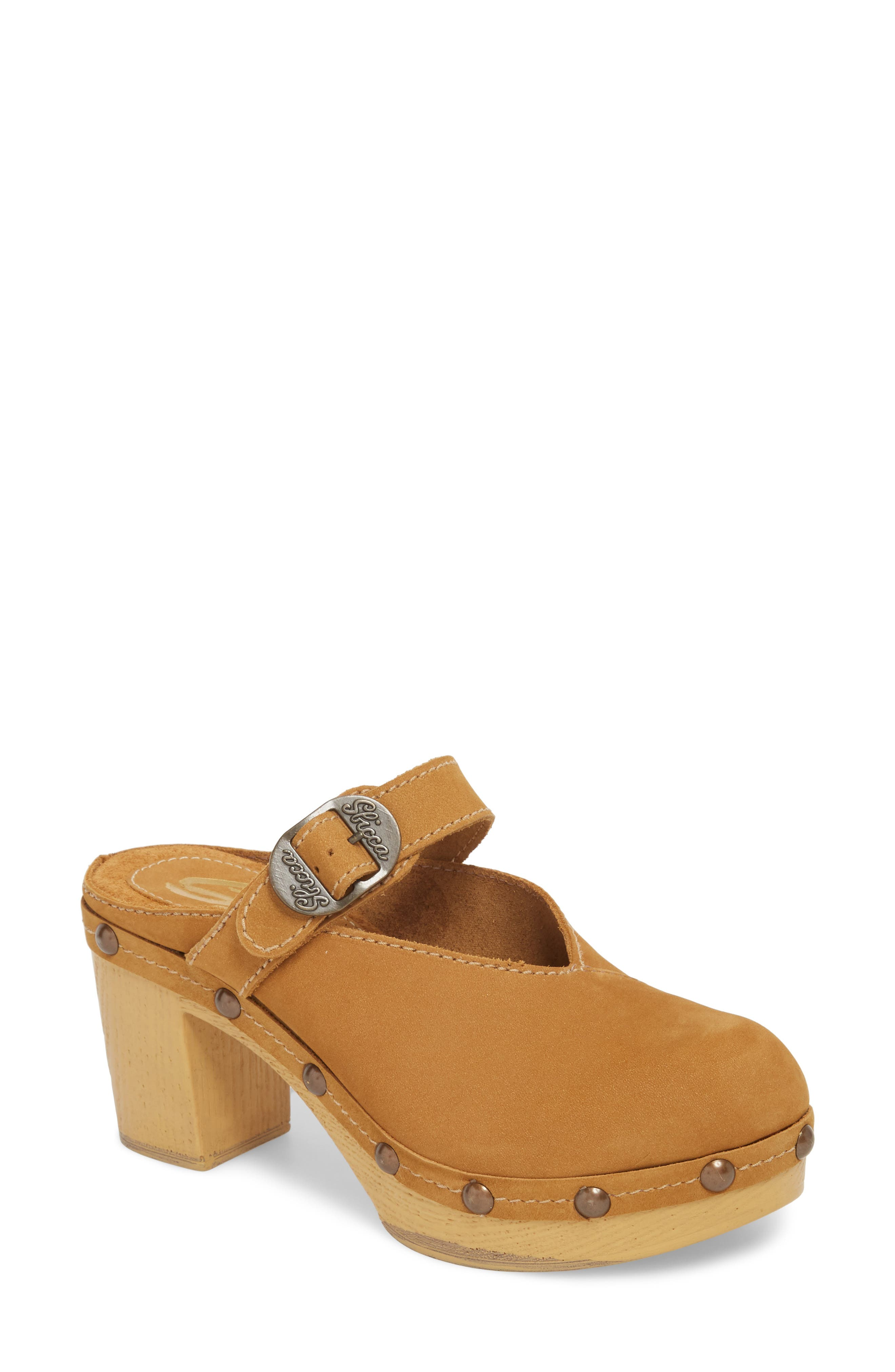 Natacha Studded Mary Jane Clog,                         Main,                         color, TAN