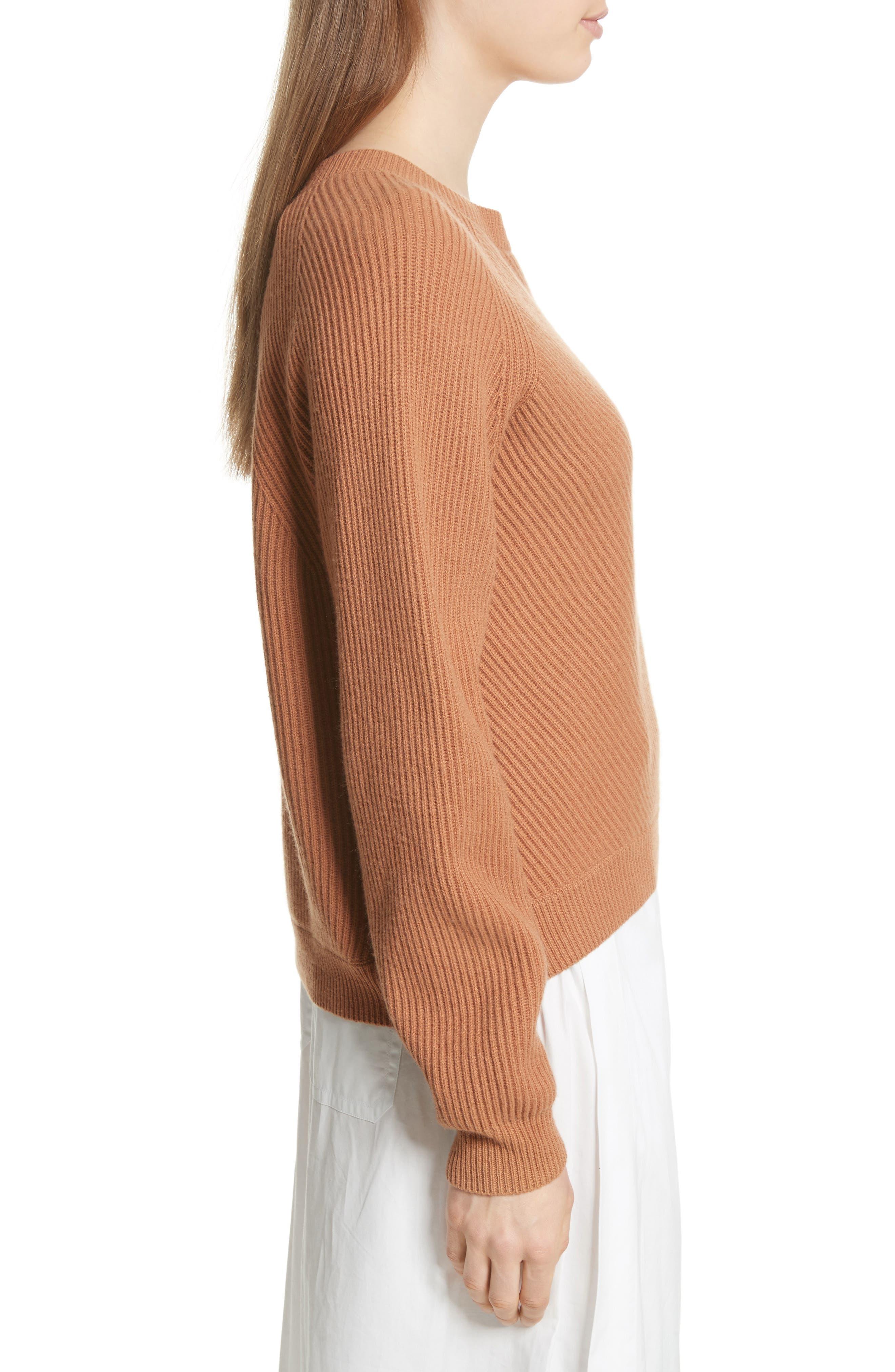 Diagonal Rib Wool & Cashmere Sweater,                             Alternate thumbnail 9, color,