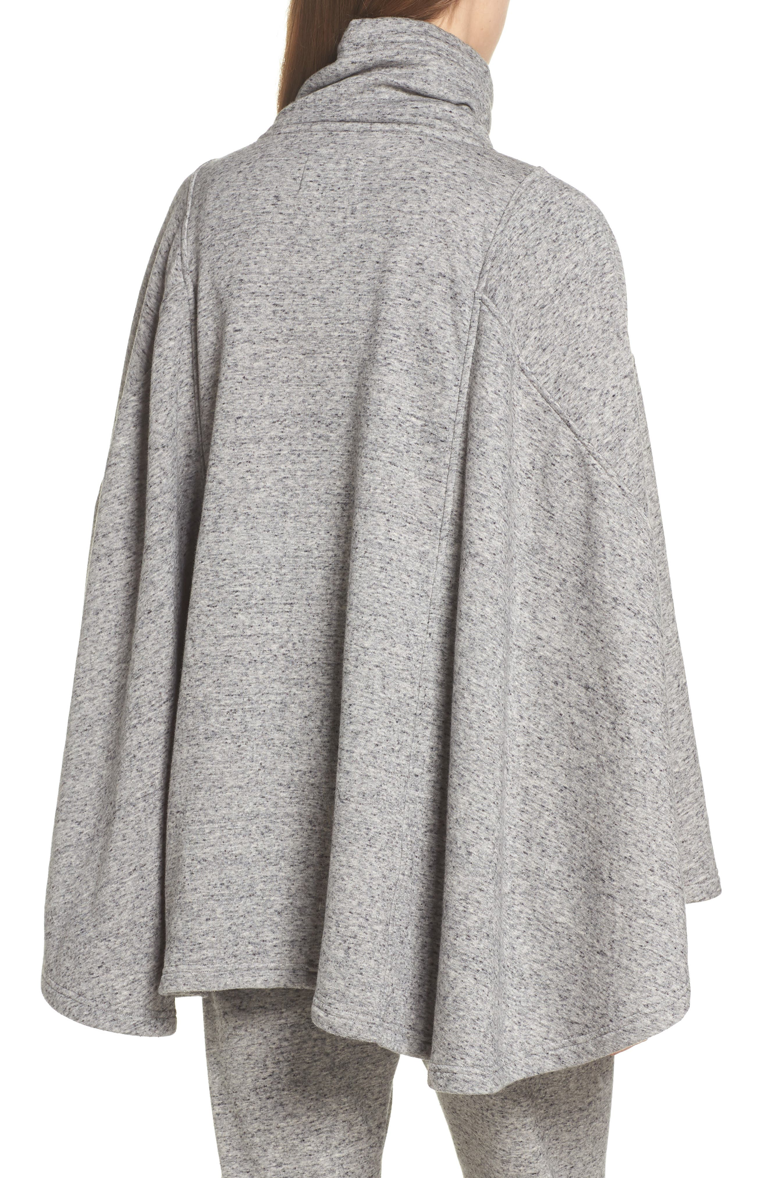 Pichot Turtleneck Poncho,                             Alternate thumbnail 2, color,                             GREY HEATHER