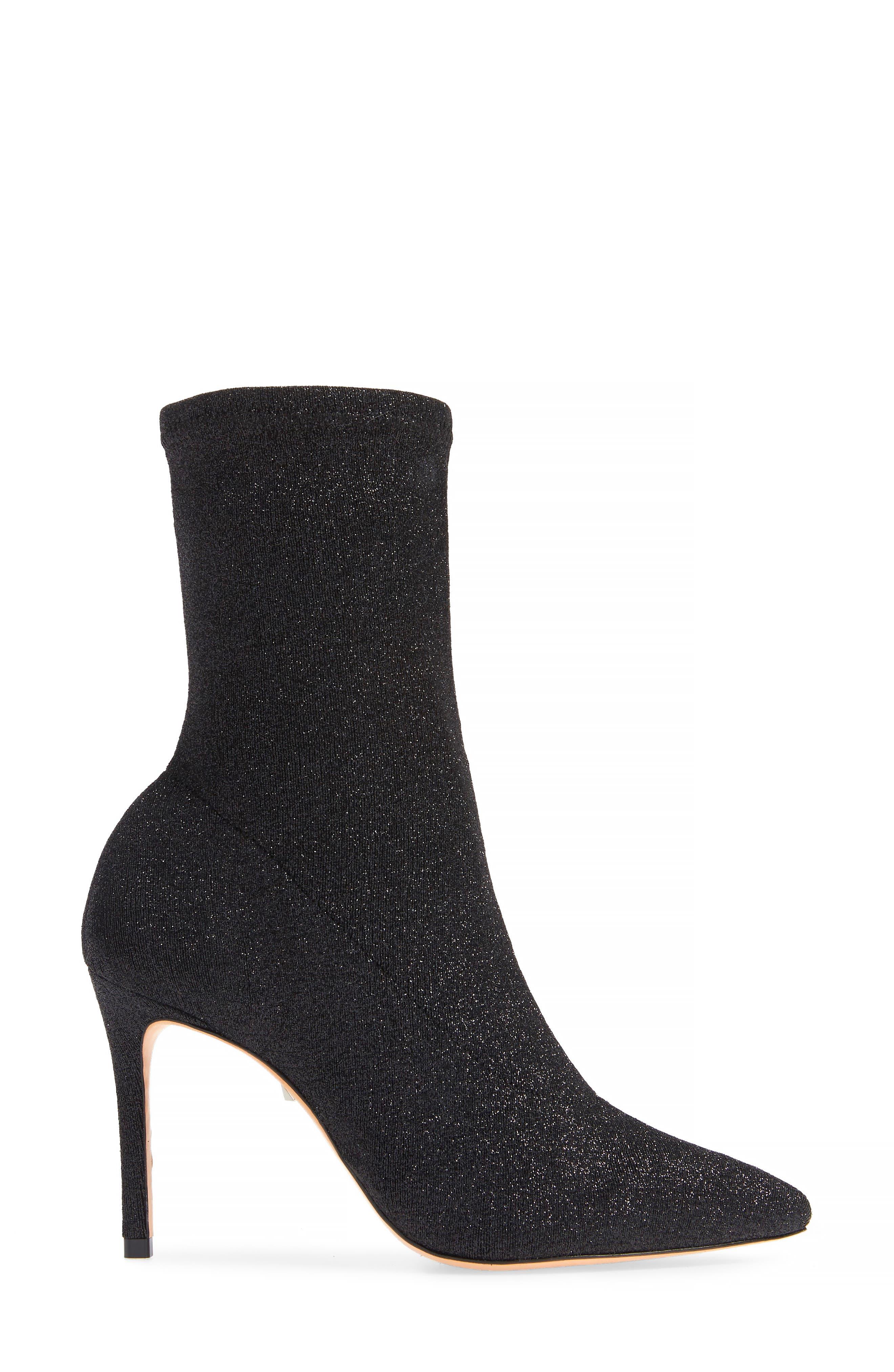 Sciarpe Glitter Sock Bootie,                             Alternate thumbnail 3, color,                             BLACK