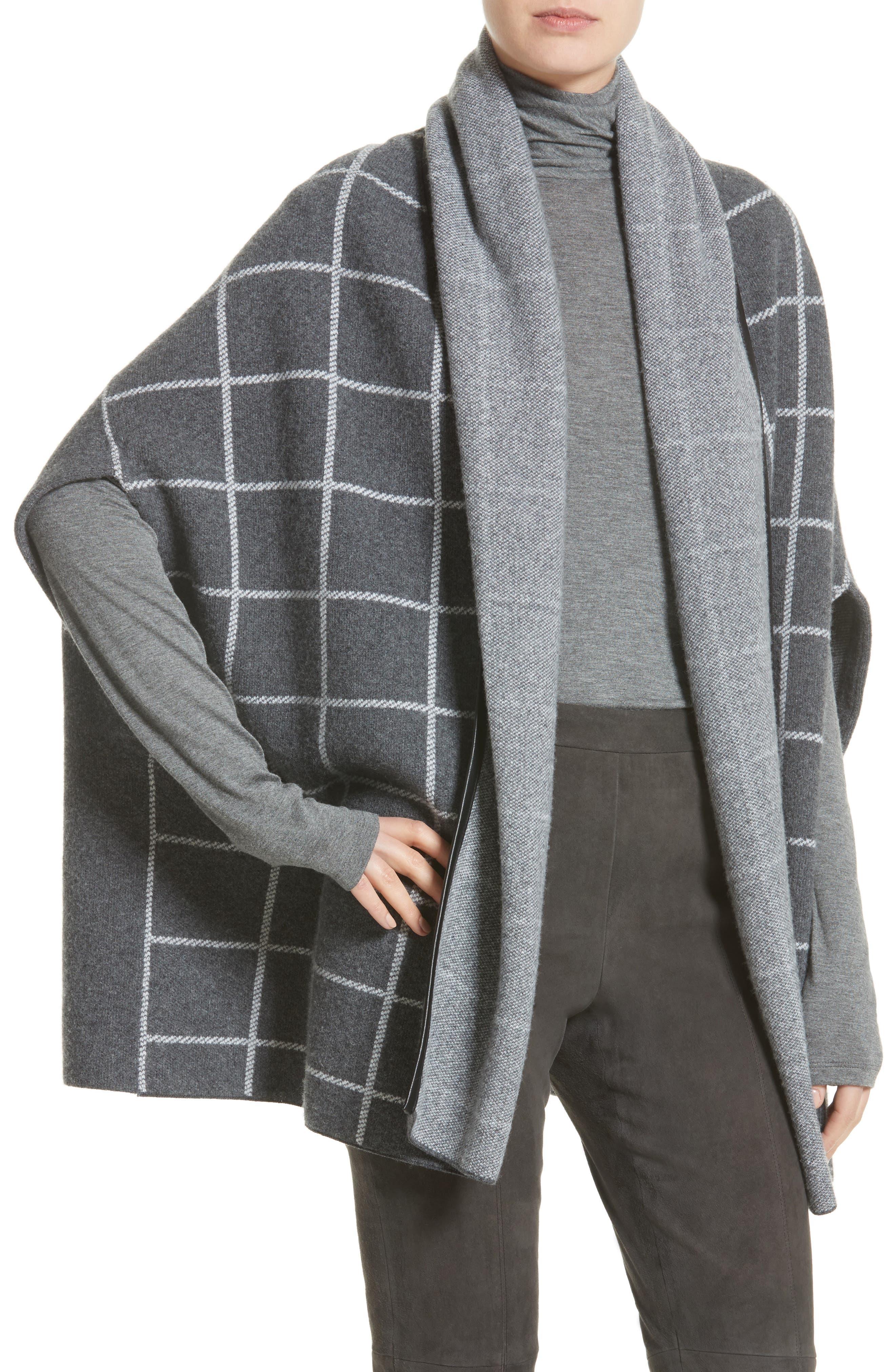 Leather Trim Windowpane Felted Wool Blend Cardigan,                             Alternate thumbnail 4, color,
