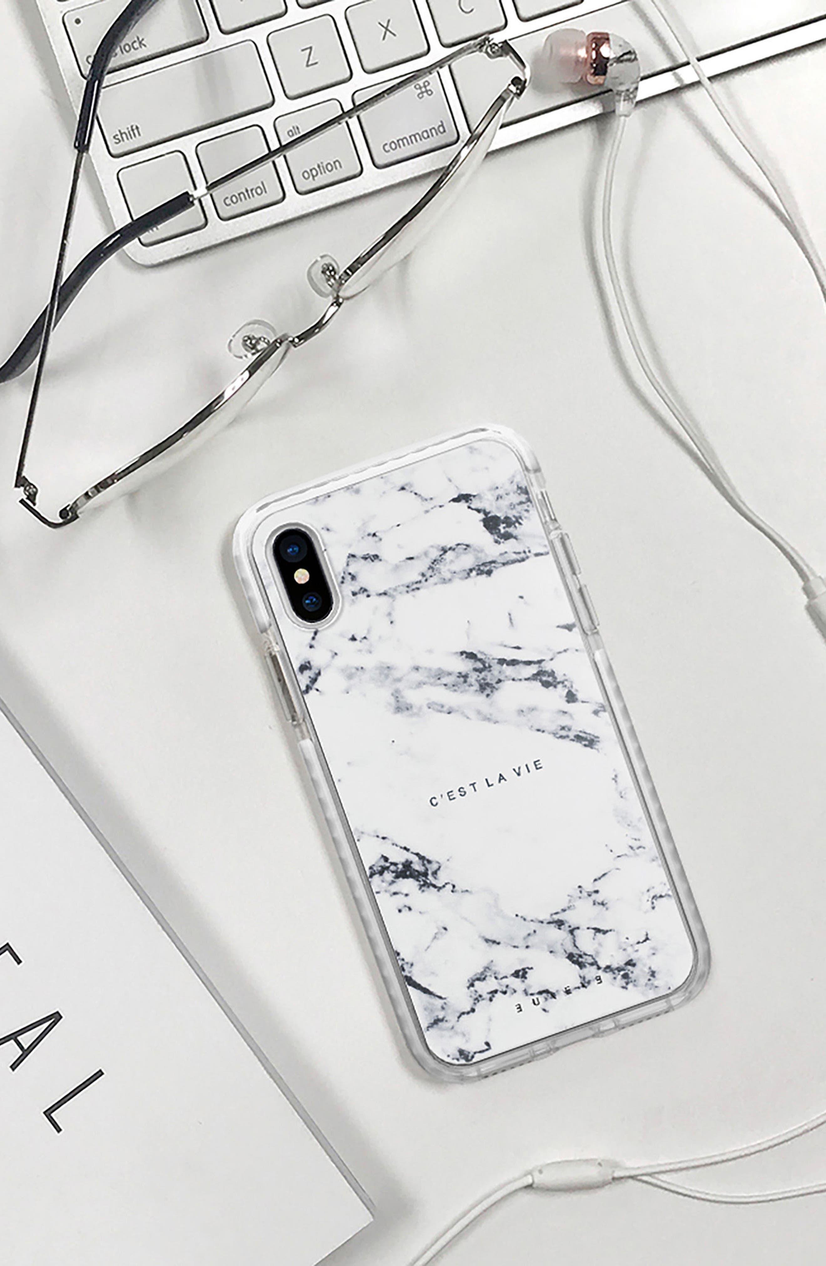 C'est la Vie Marble iPhone X/Xs Case,                             Alternate thumbnail 6, color,                             100