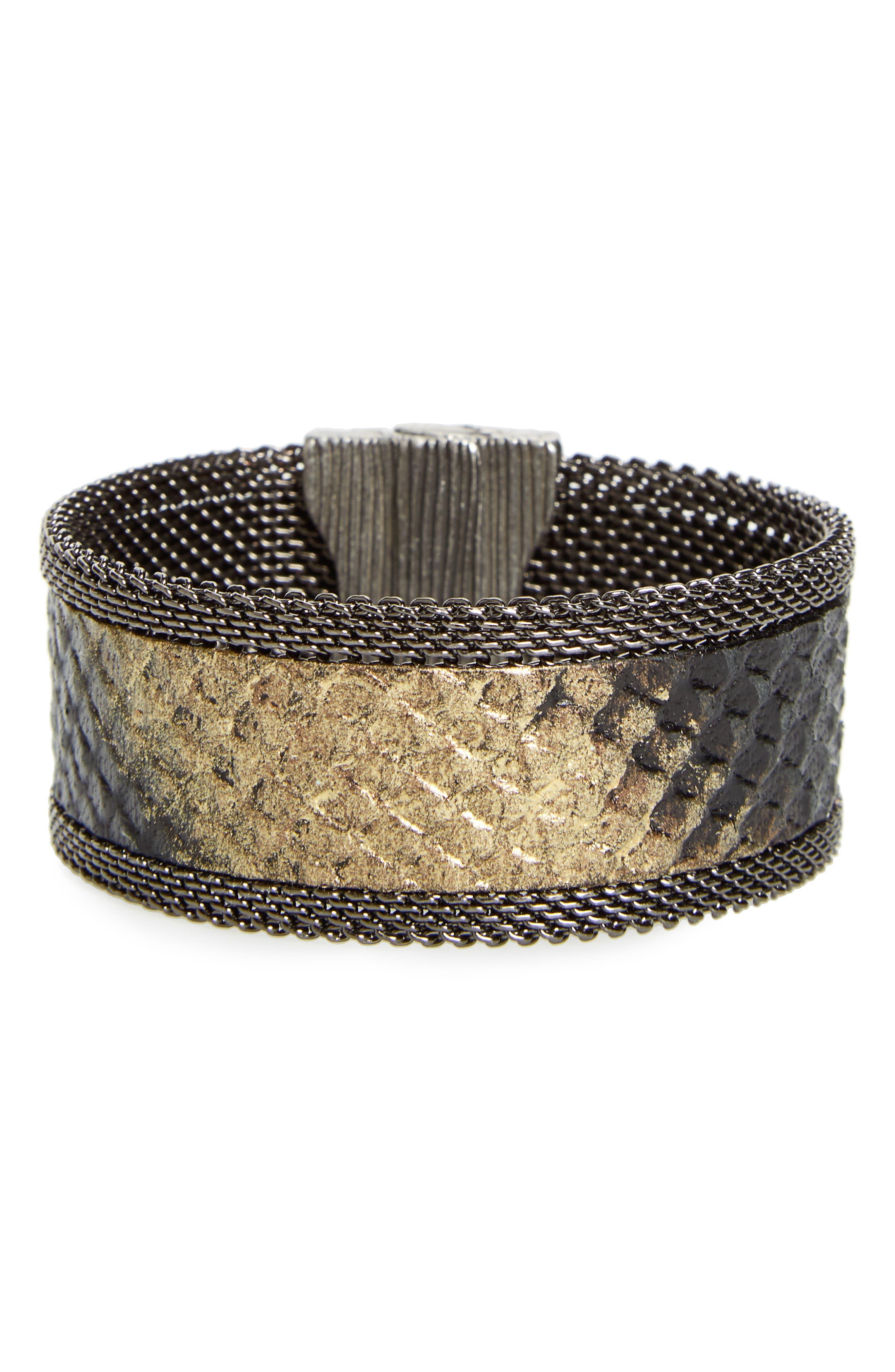 Genuine Snakeskin Cuff,                         Main,                         color,