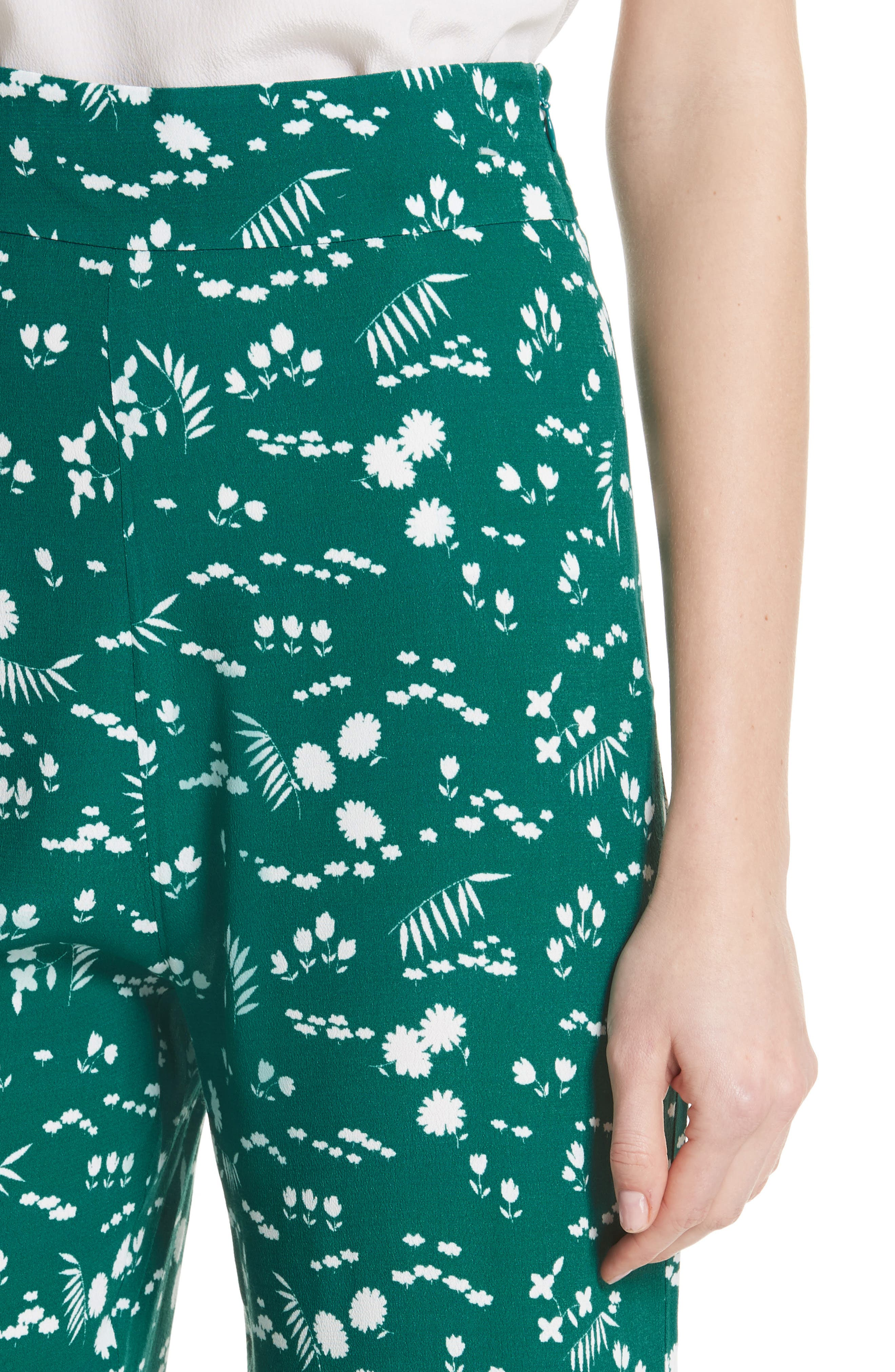 Floral Print Crop Pants,                             Alternate thumbnail 4, color,                             900