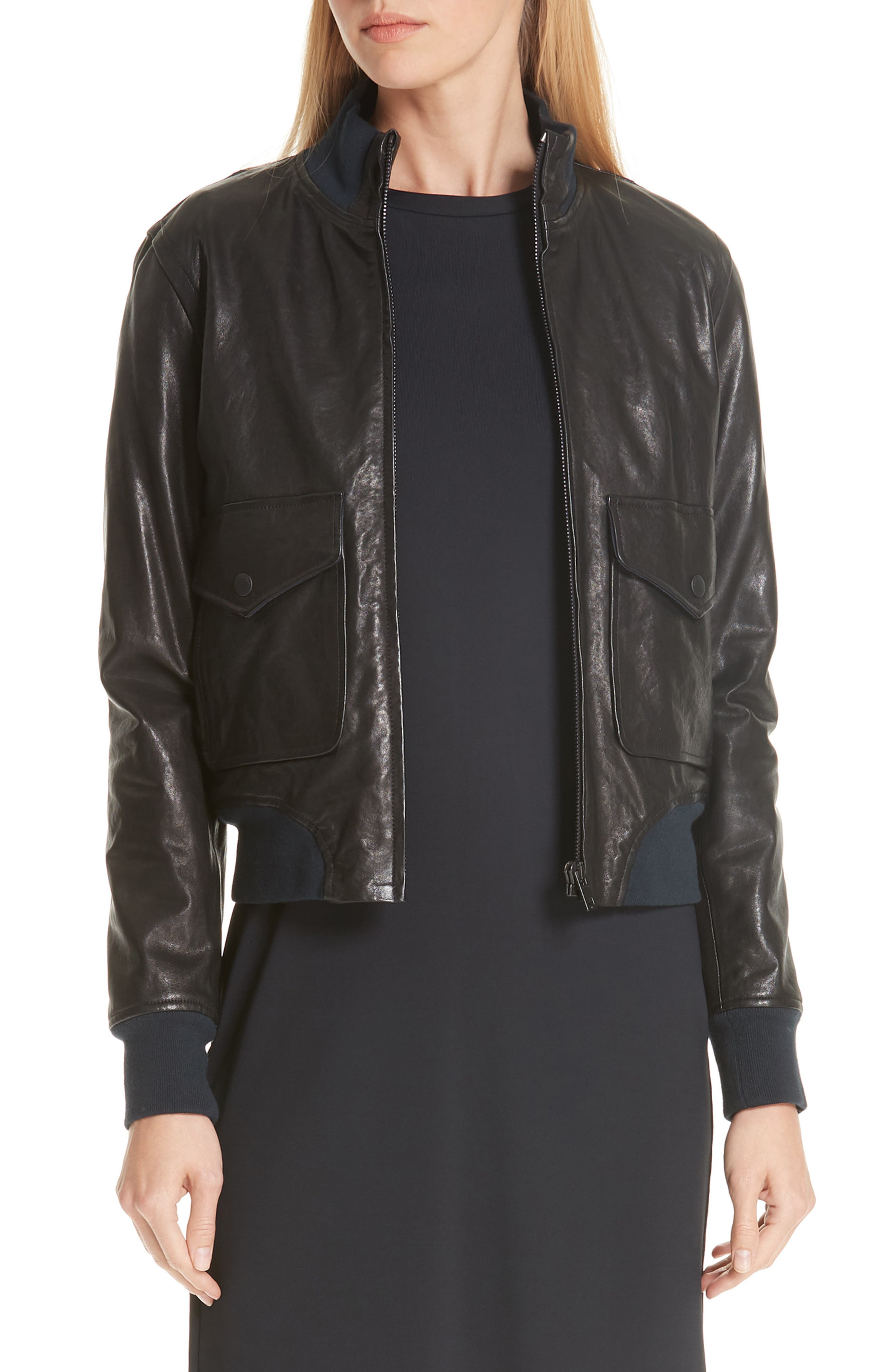 Mila Lambskin Leather Jacket,                             Main thumbnail 1, color,                             001