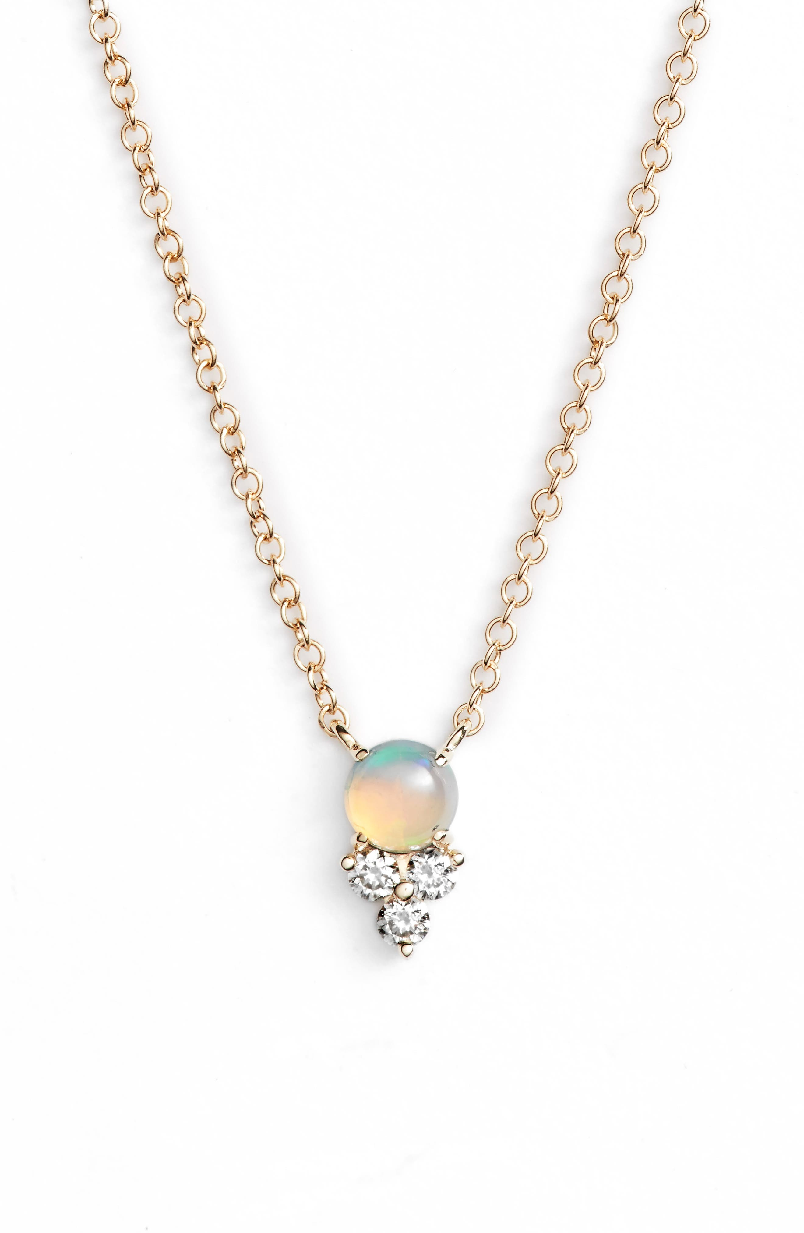 Diamond Trio Stone Pendant Necklace,                             Main thumbnail 1, color,                             YELLOW GOLD/ OPAL