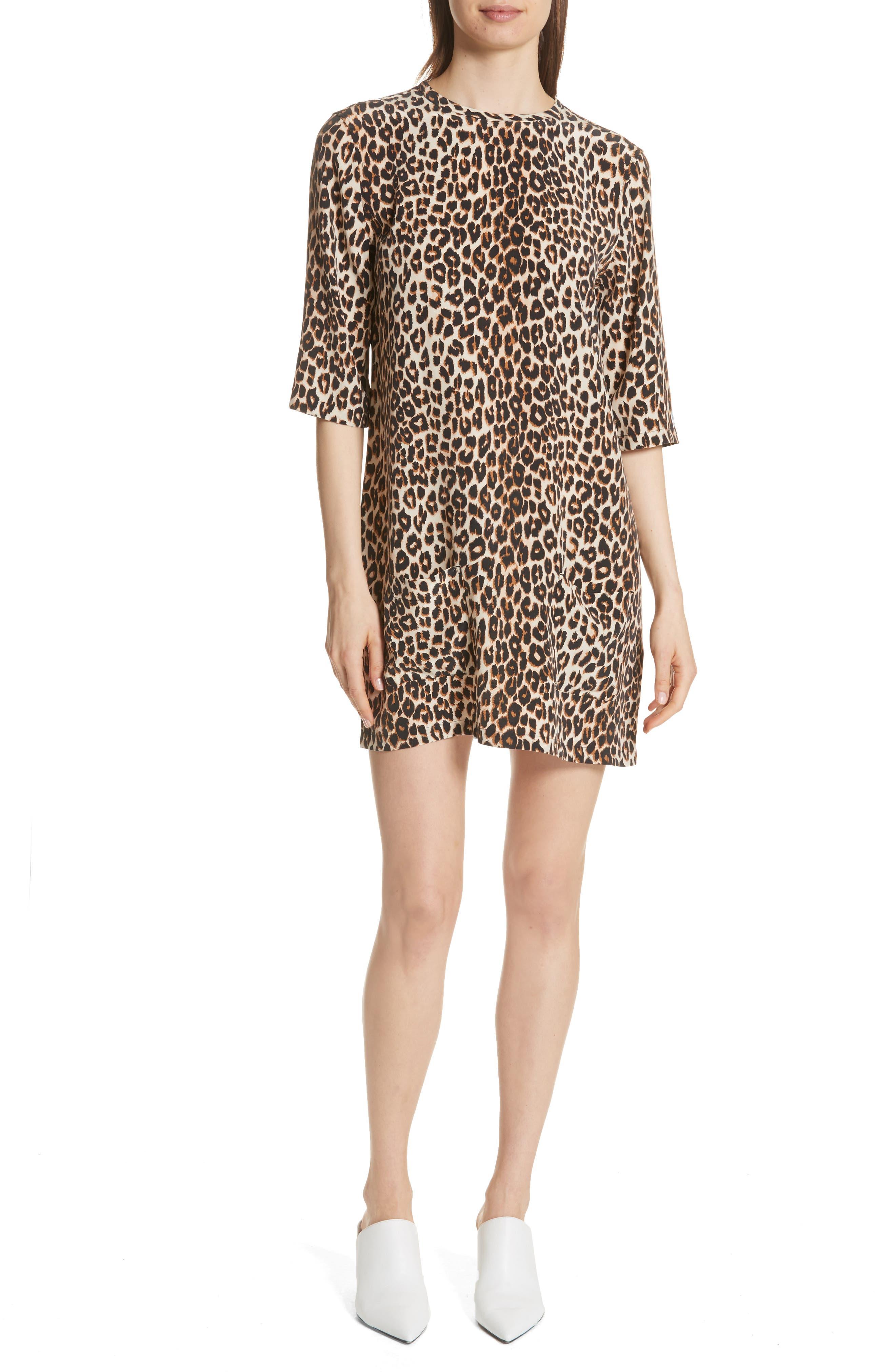Leopard Print Silk Shift Dress, Main, color, 101