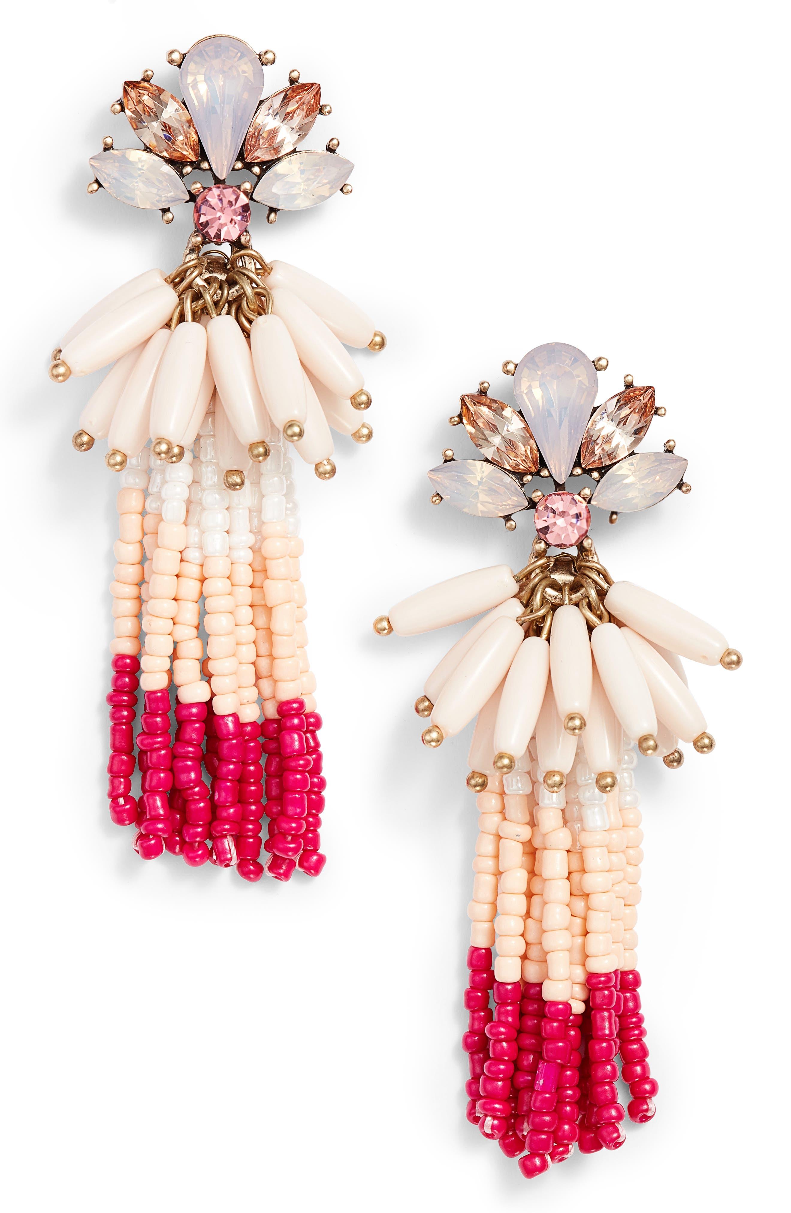 Crystal Flower Beaded Tassel Earrings,                             Main thumbnail 1, color,                             710