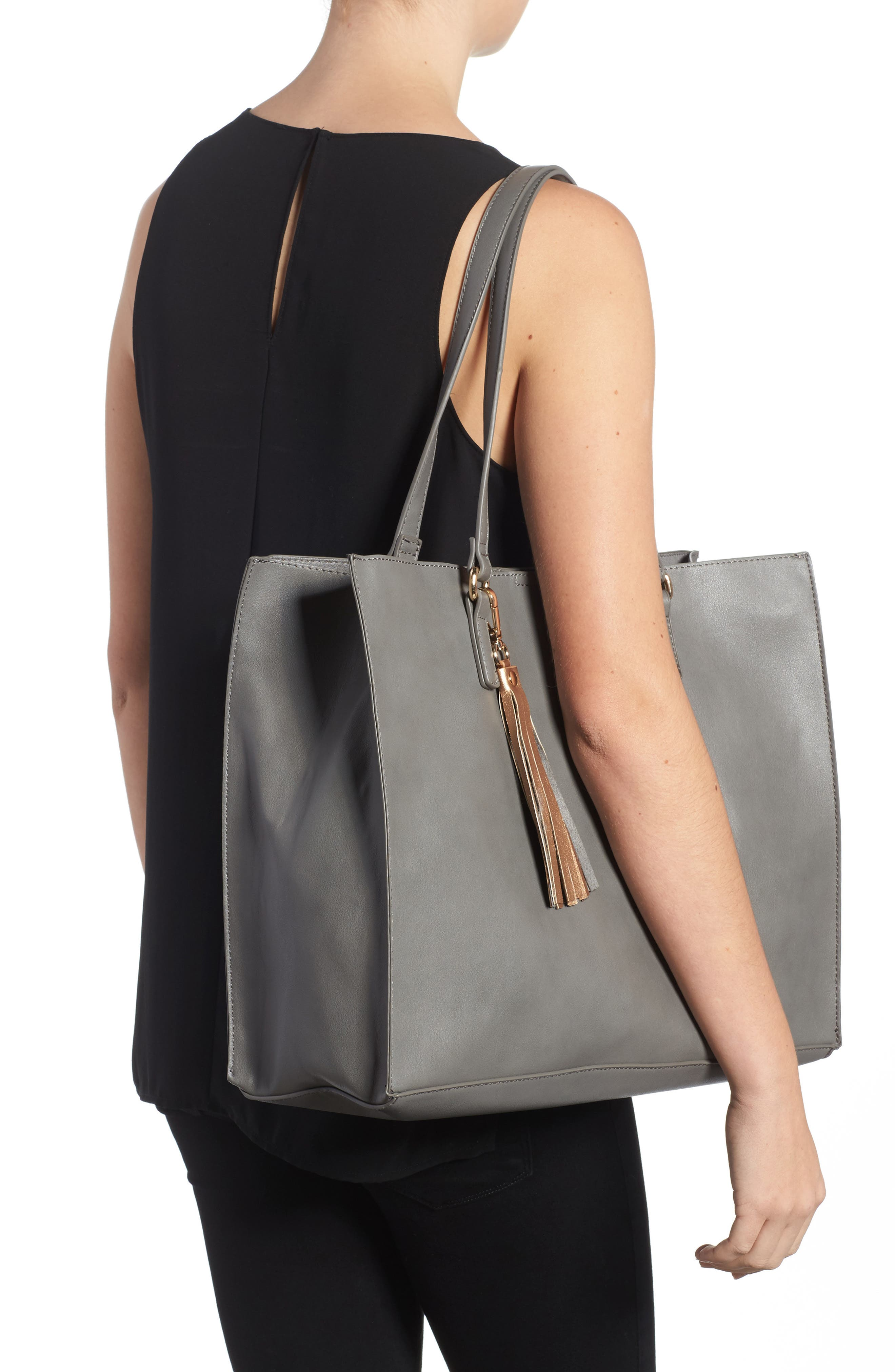 Faux Leather Tote & Pouch,                             Alternate thumbnail 2, color,                             020