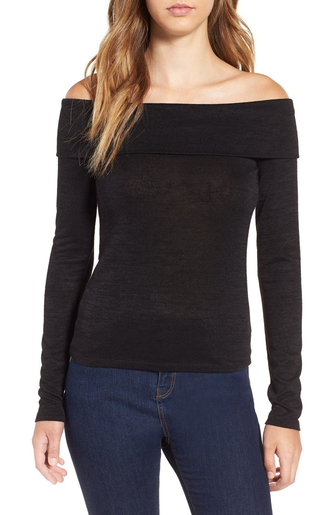 LEITH,                             Foldover Off the Shoulder Top,                             Main thumbnail 1, color,                             001