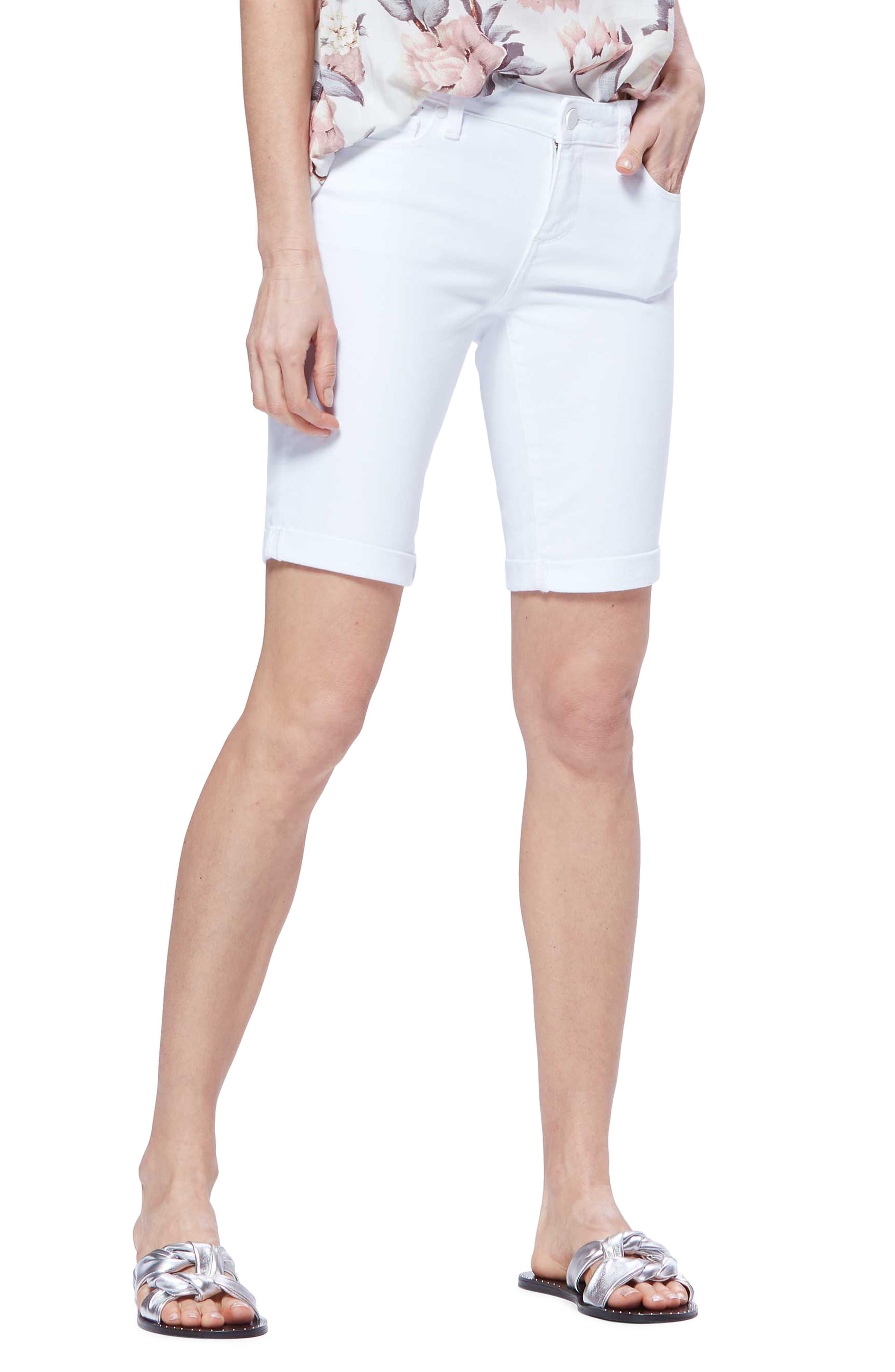 PAIGE,                             Jax Denim Bermuda Shorts,                             Main thumbnail 1, color,                             CRISP WHITE