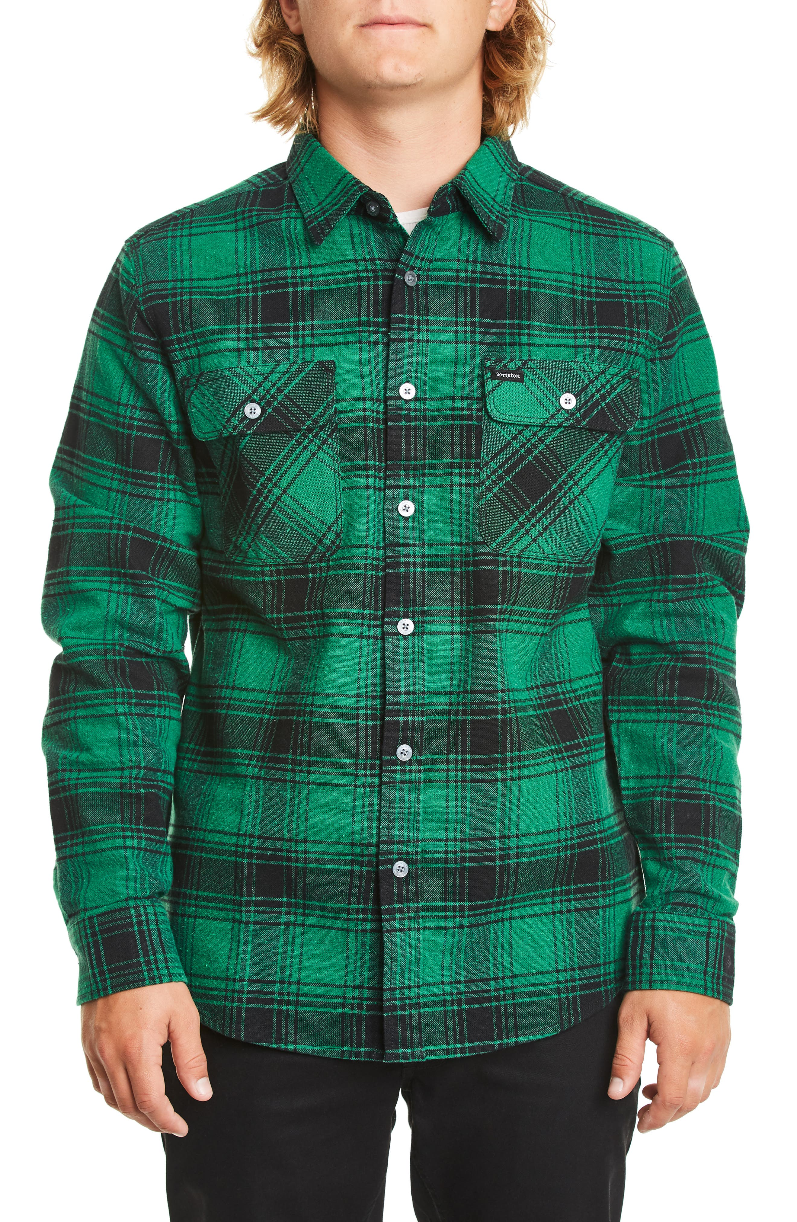 Brixton Bowery Flannel Shirt, Green