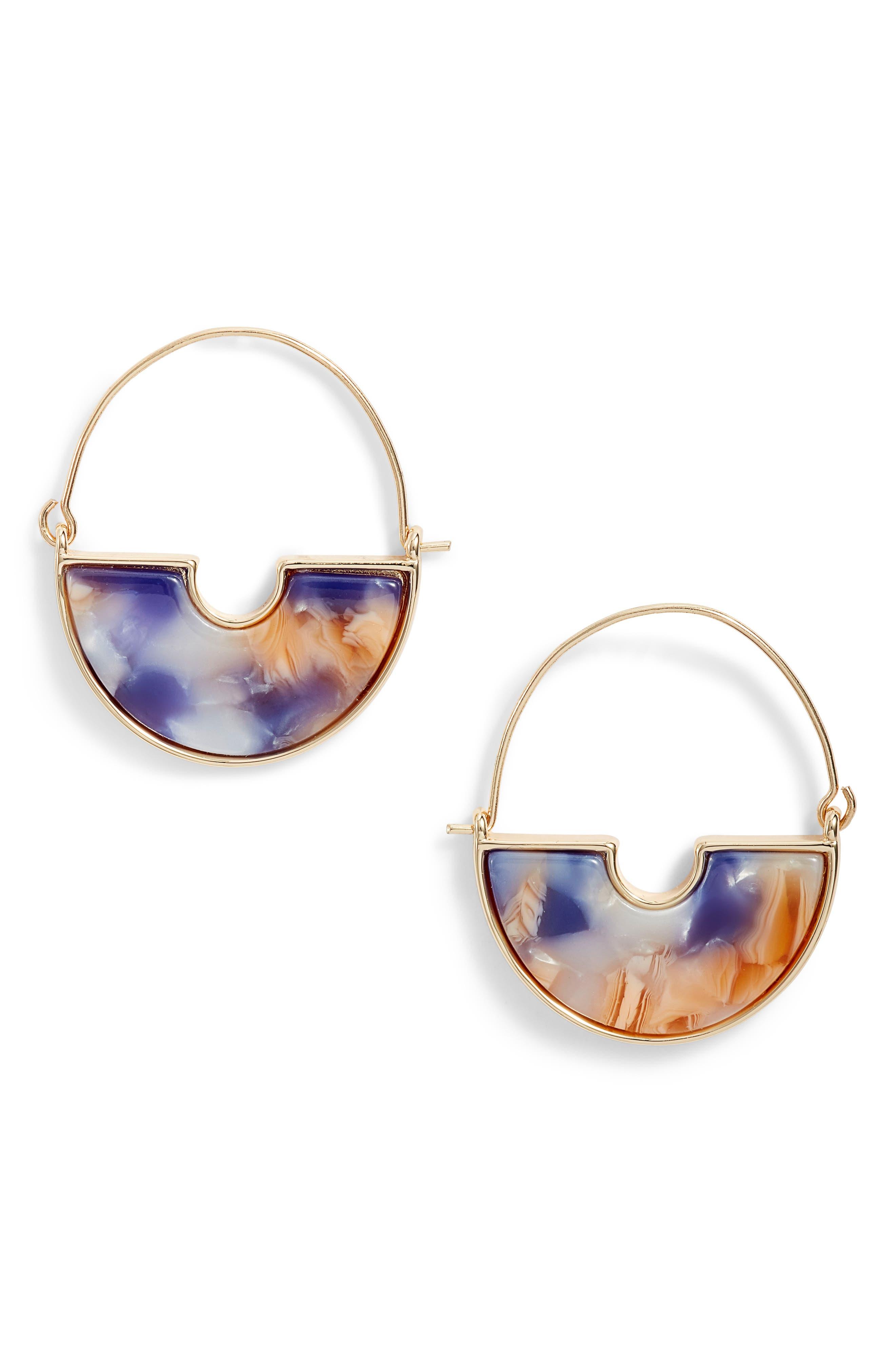 Resin Crescent Hoop Earrings, Main, color, 510