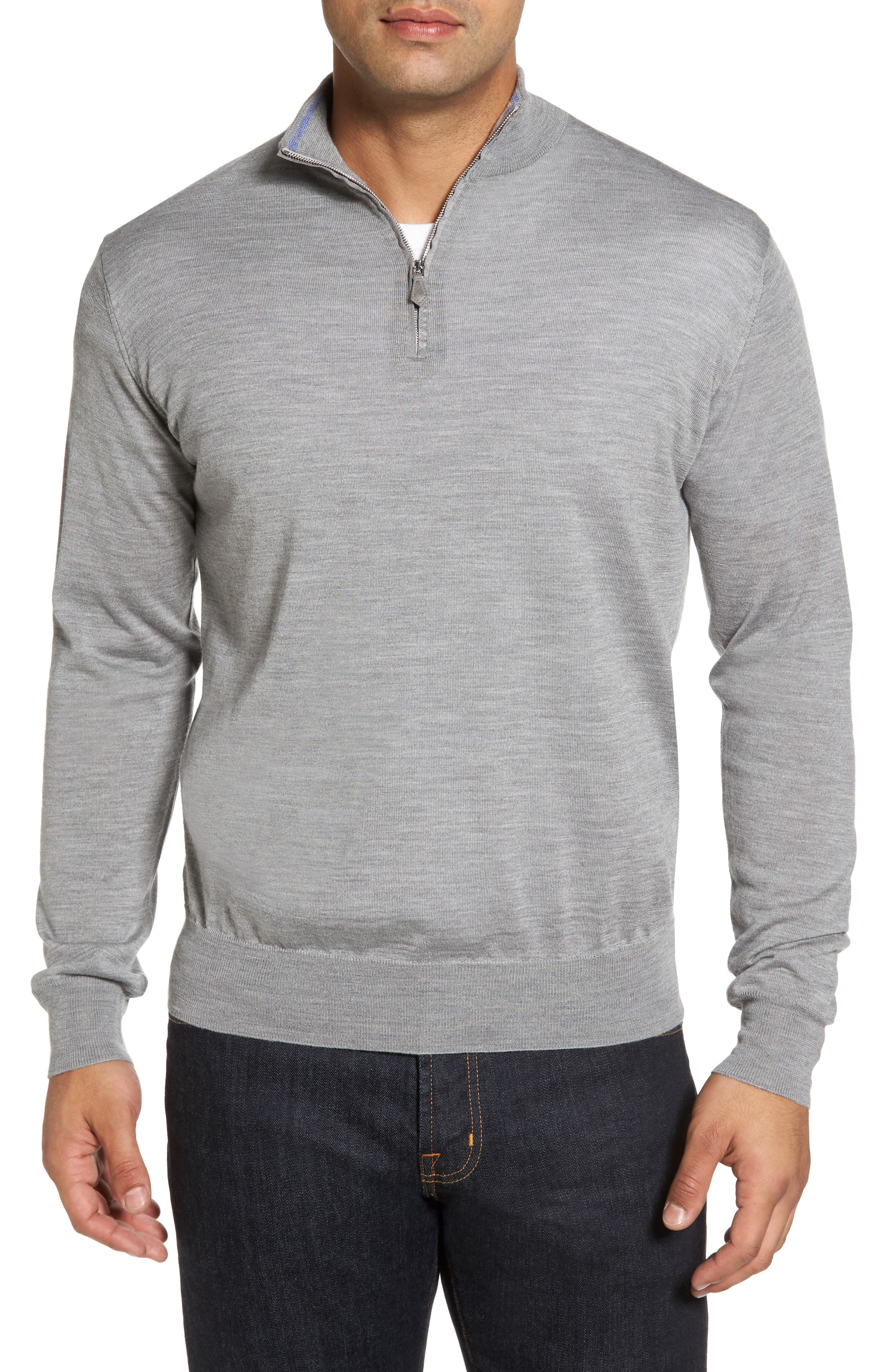 Wool Blend Quarter Zip Sweater,                             Main thumbnail 1, color,