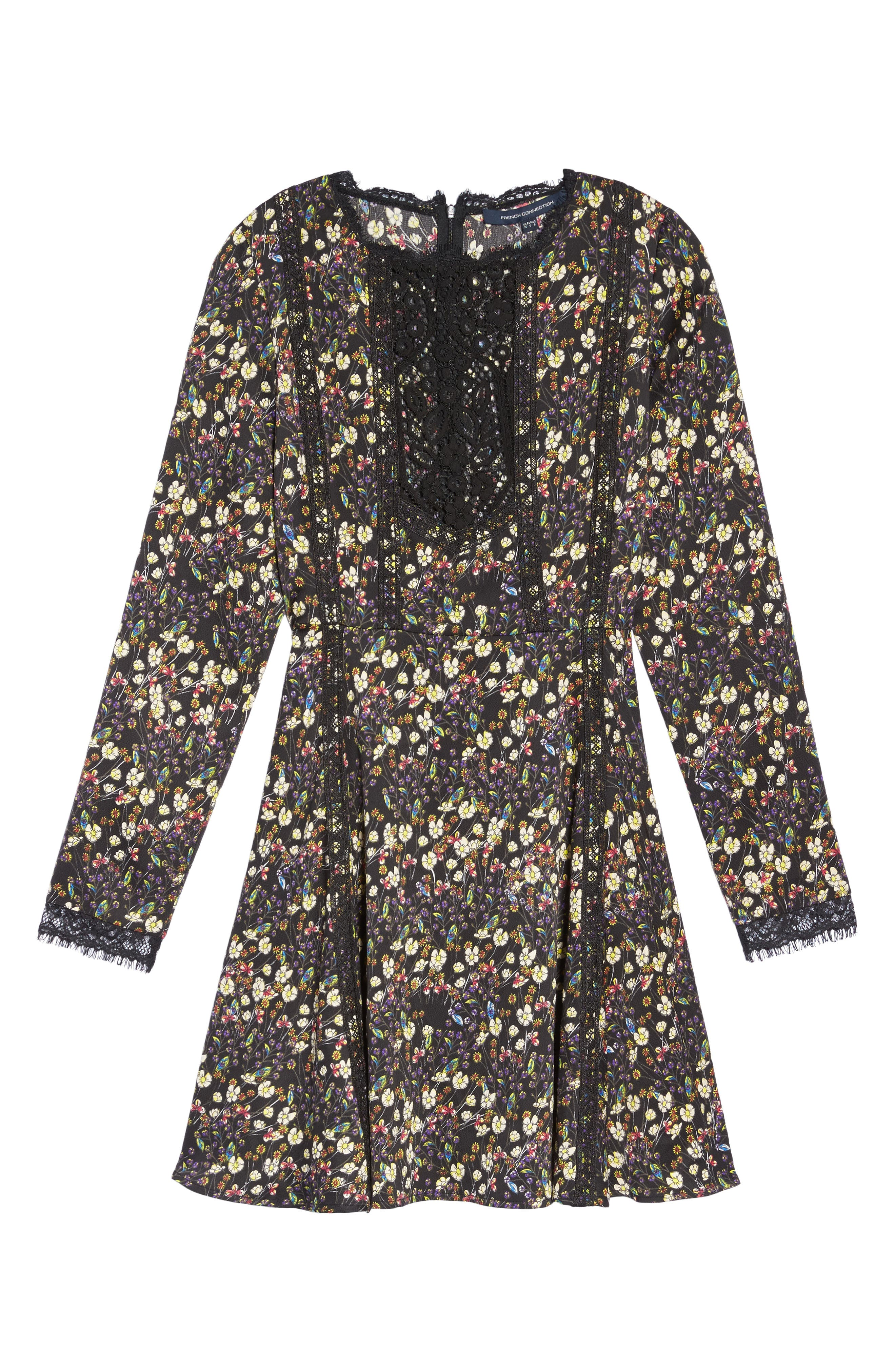 Hallie Fit & Flare Dress,                             Alternate thumbnail 6, color,                             BLACK MULTI