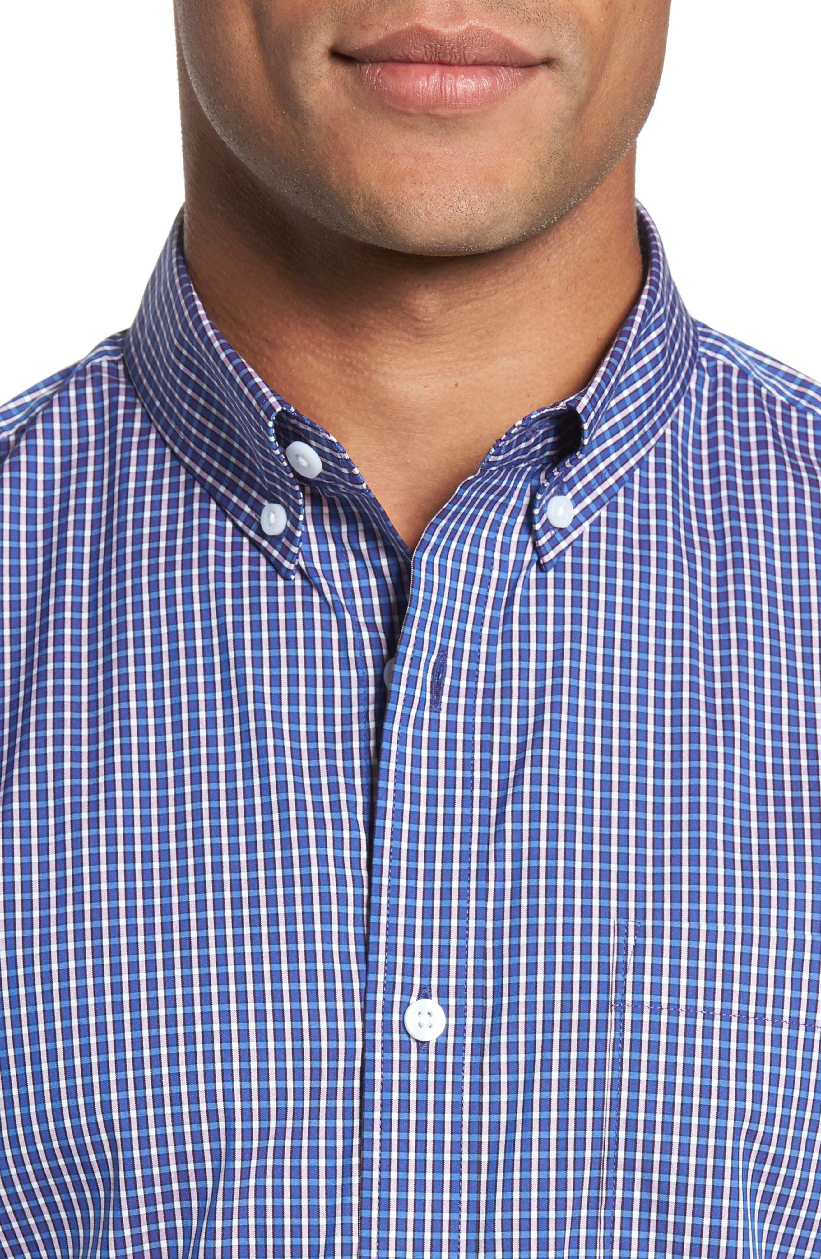 Tech-Smart Trim Fit Check Sport Shirt,                             Alternate thumbnail 4, color,                             501