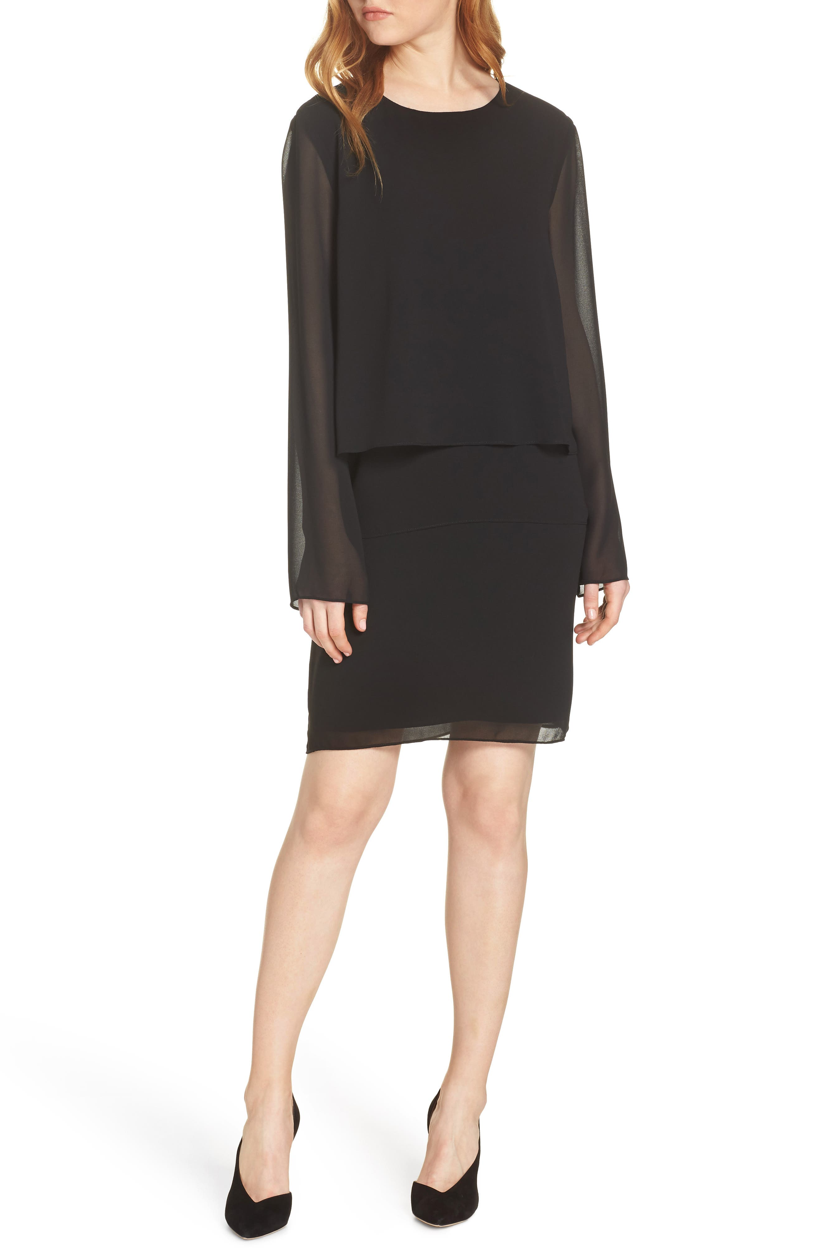CHARLES HENRY Layered Popover Chiffon Dress in Black