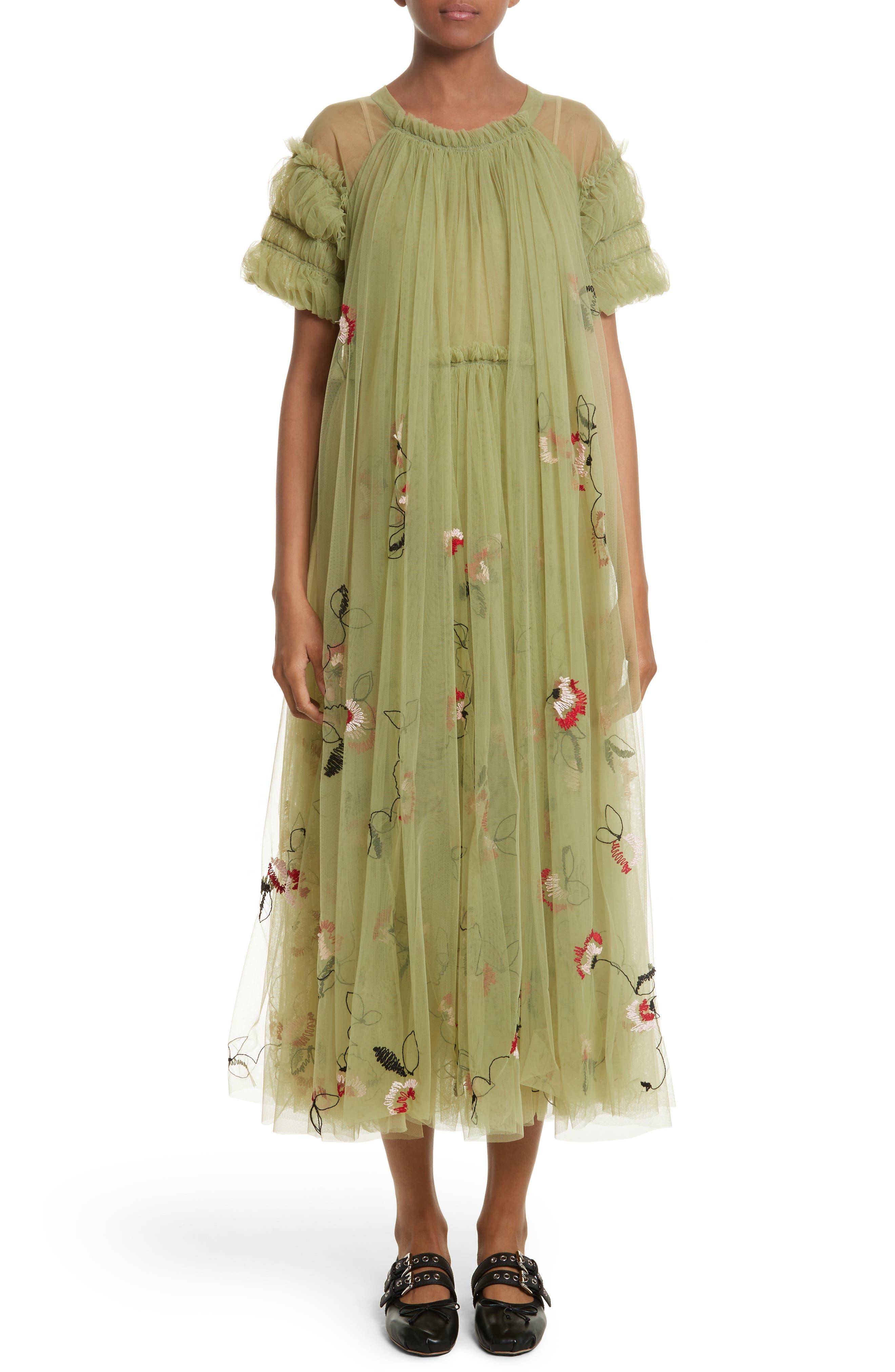 Doris Embroidered Tulle Dress,                             Alternate thumbnail 5, color,                             950