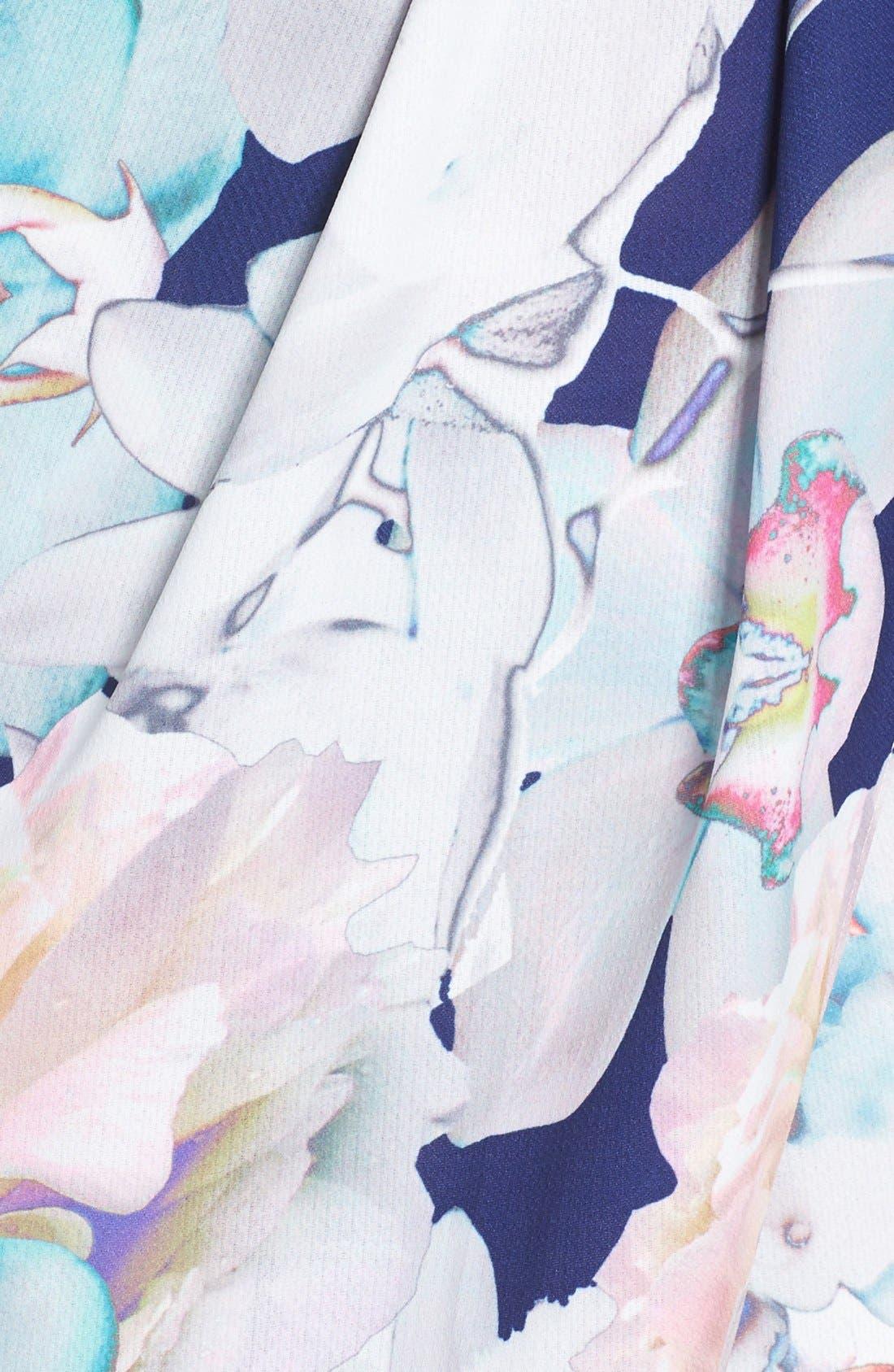 Floral Faux Wrap Dress,                             Alternate thumbnail 3, color,                             410