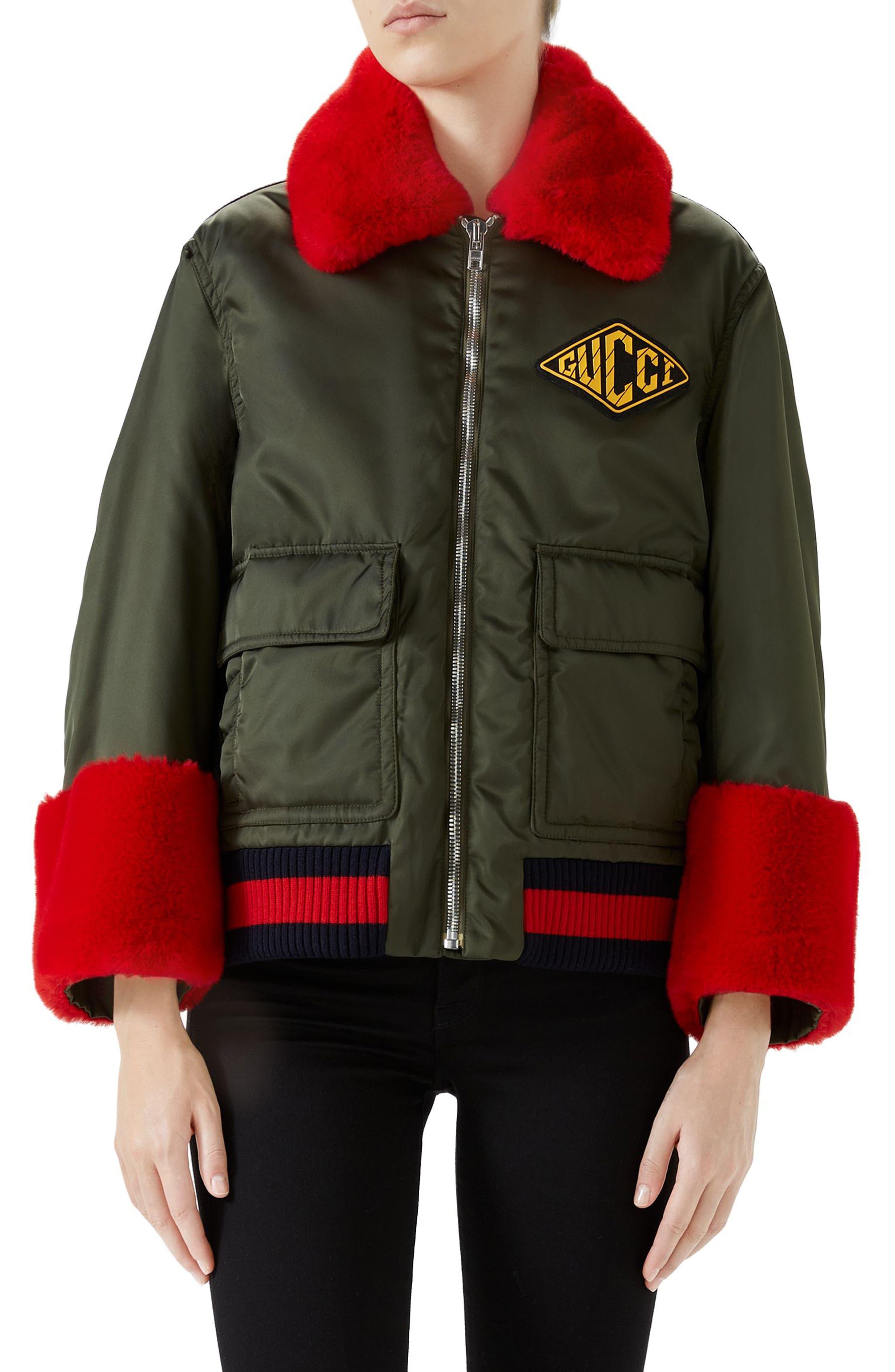 Faux Fur Trim Nylon Flight Jacket,                         Main,                         color, MILITARY GREEN/ MULTI