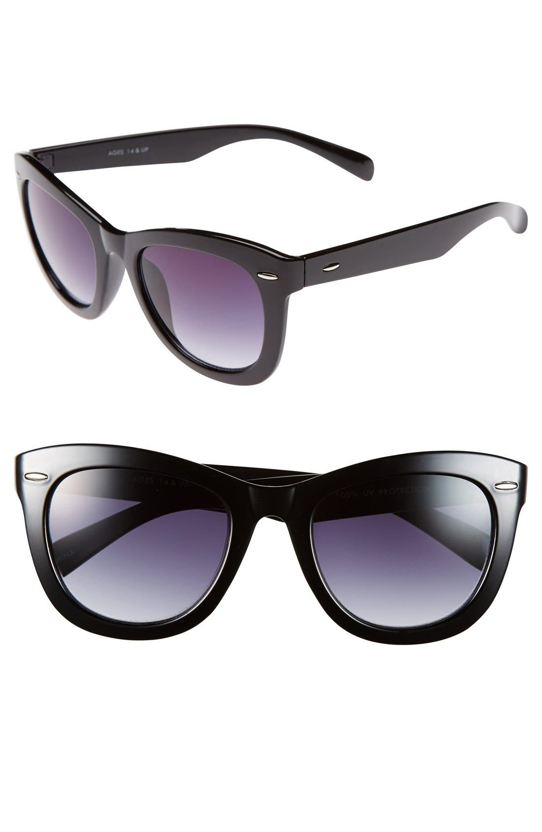 FANTASEYES,                             Fantas Eyes Tortoise Shell Cat Eye 52mm Sunglasses,                             Main thumbnail 1, color,                             001