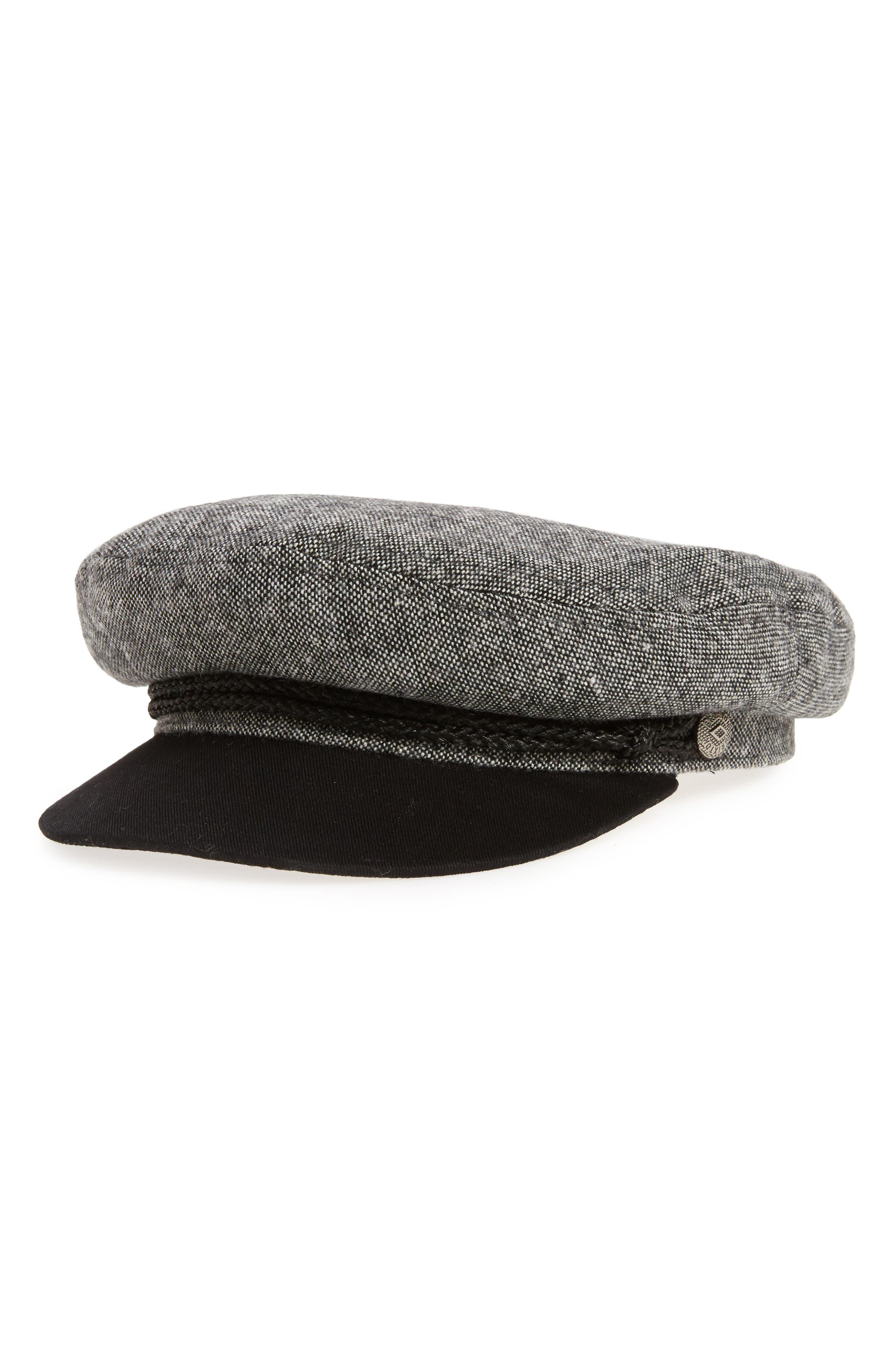 Fiddler Cap,                         Main,                         color, BLACK/ WHITE TWEED