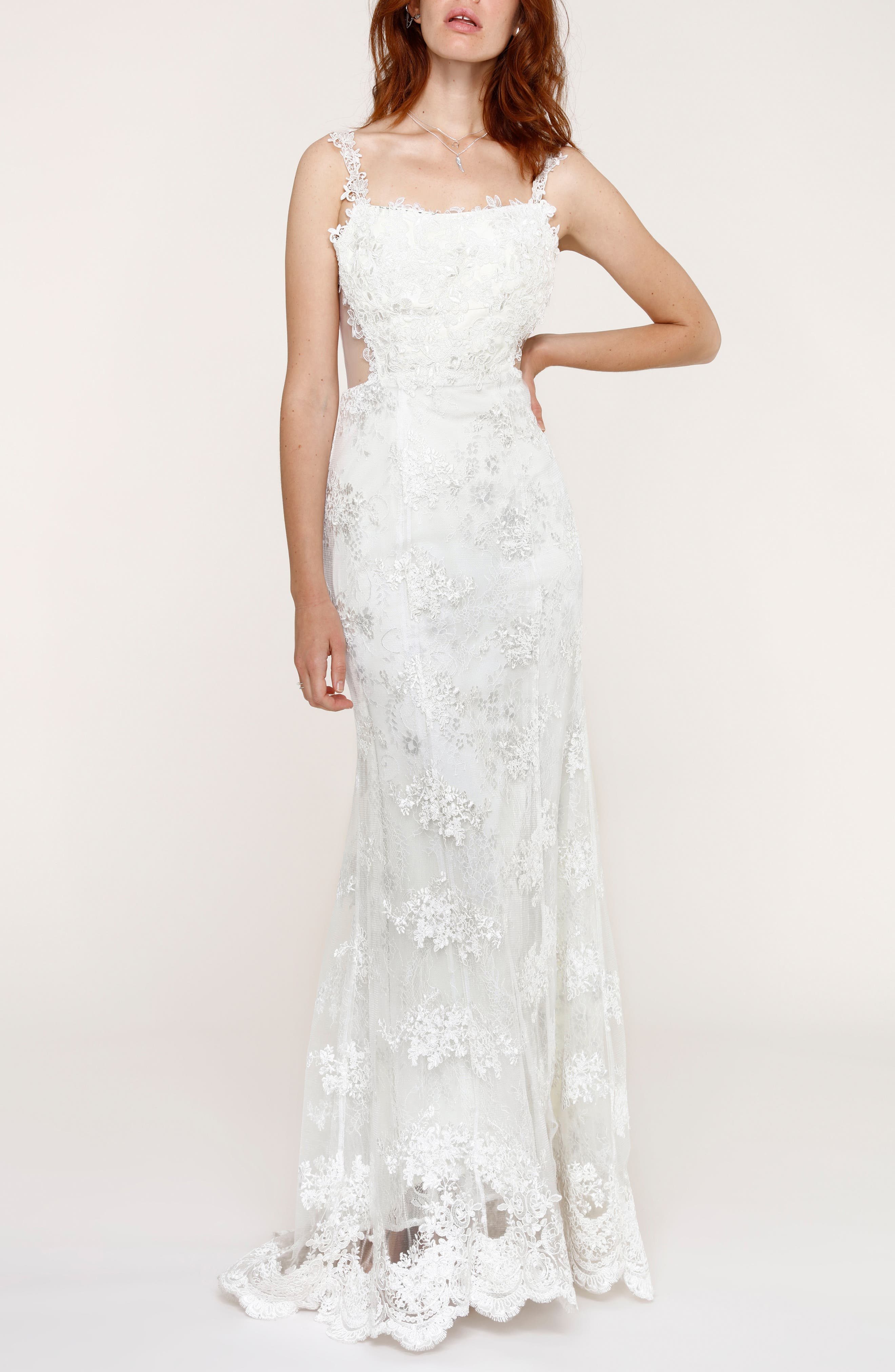 Andie Illusion Side Lace Mermaid Gown,                             Alternate thumbnail 5, color,                             900