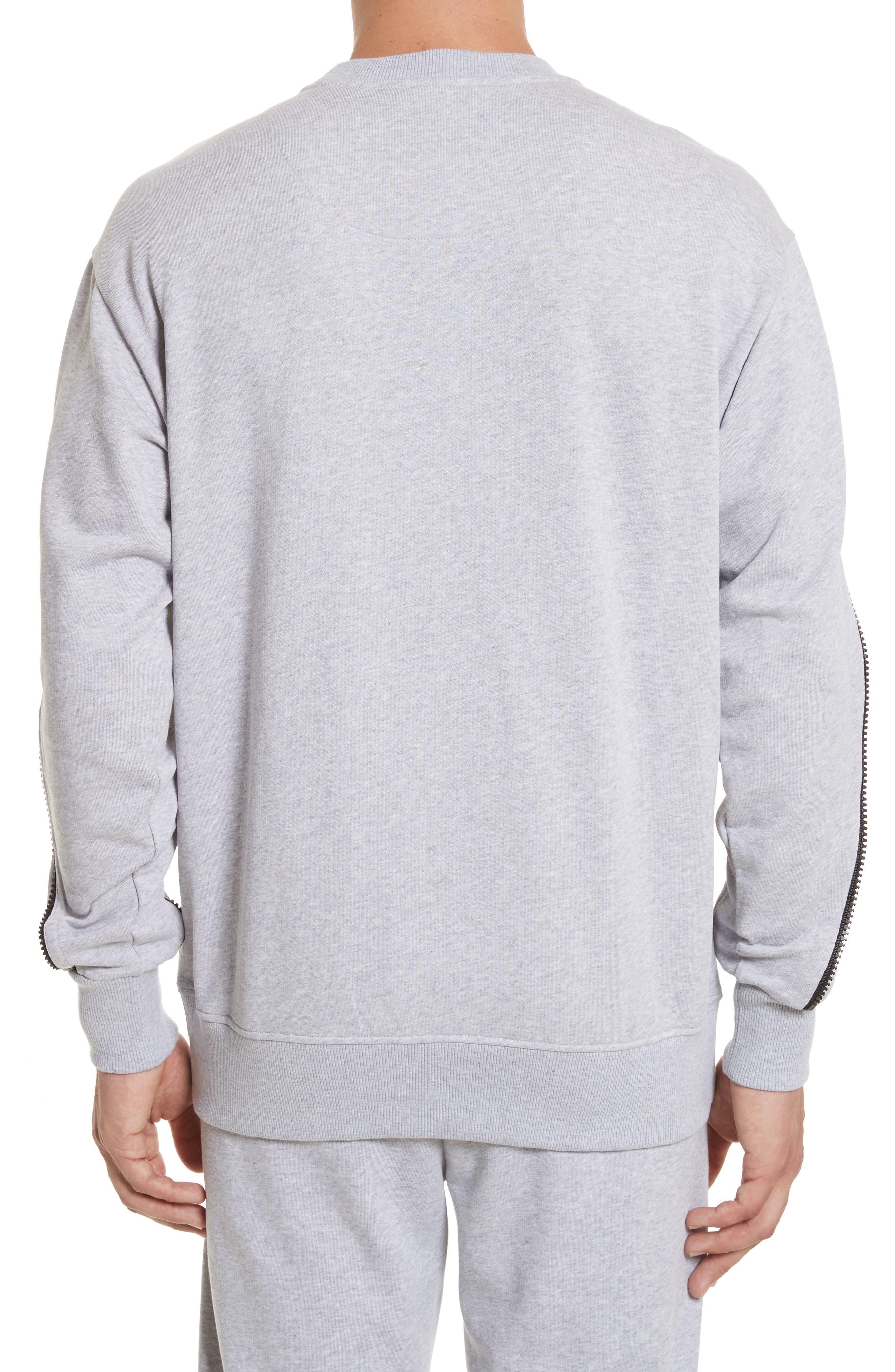 Zip Sleeve Crewneck Sweatshirt,                             Alternate thumbnail 2, color,                             GREY