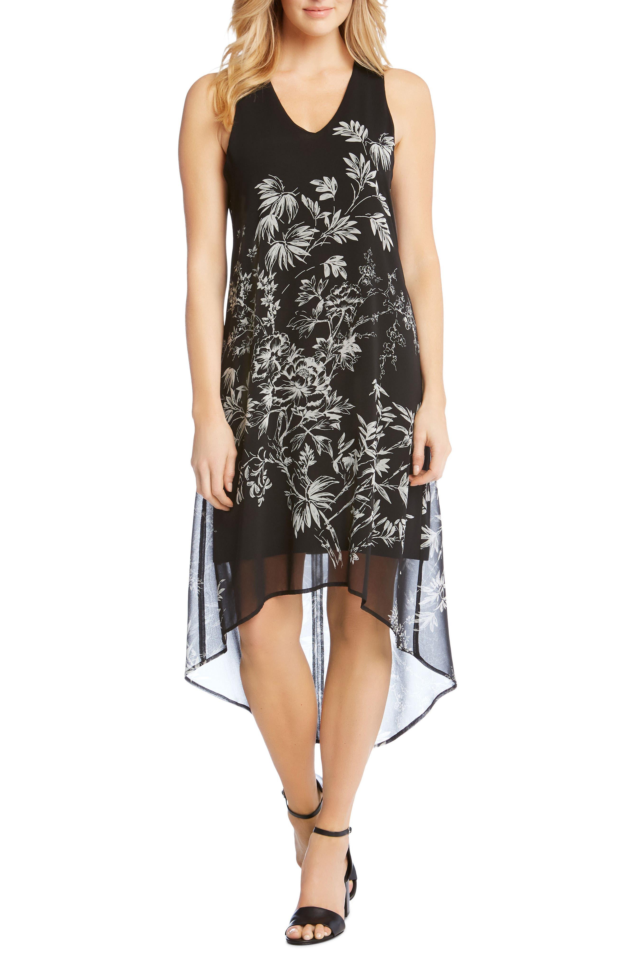 Sketched Floral Dress,                             Main thumbnail 1, color,                             PRINT