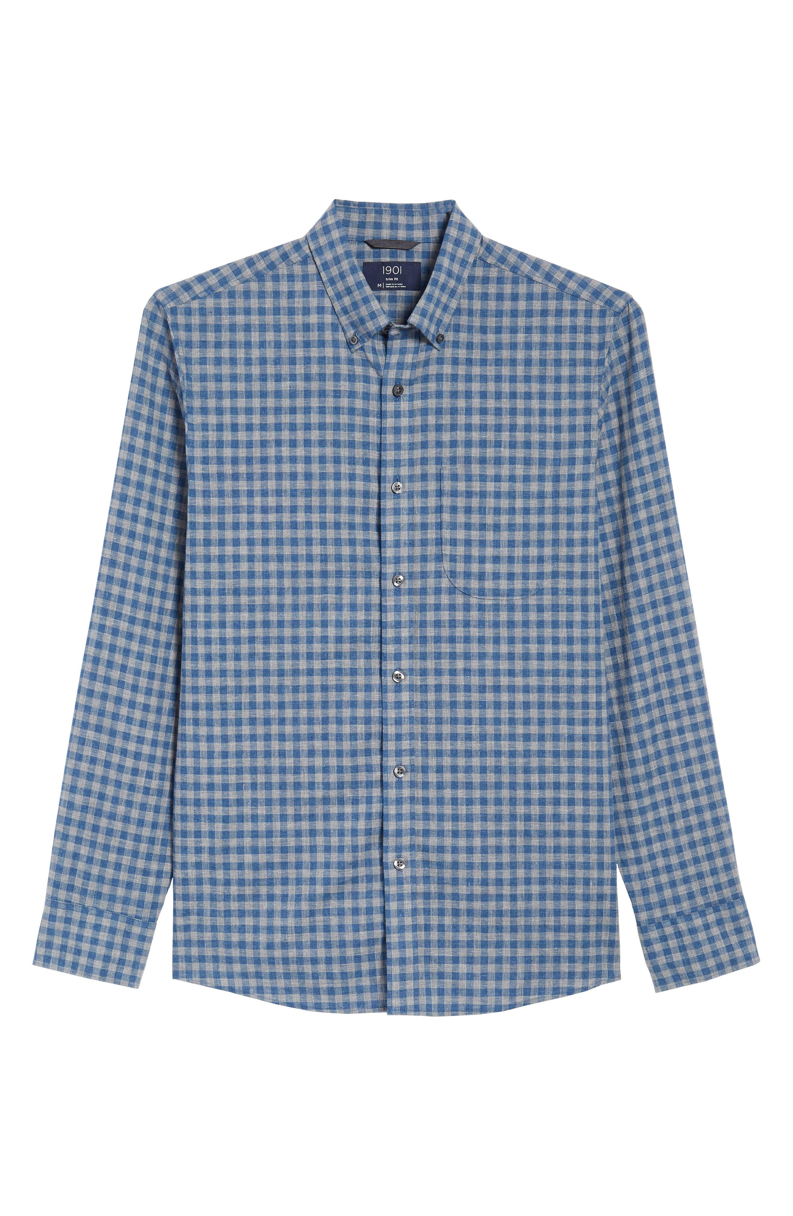 Trim Fit Heather Gingham Linen Blend Sport Shirt,                             Alternate thumbnail 6, color,                             030