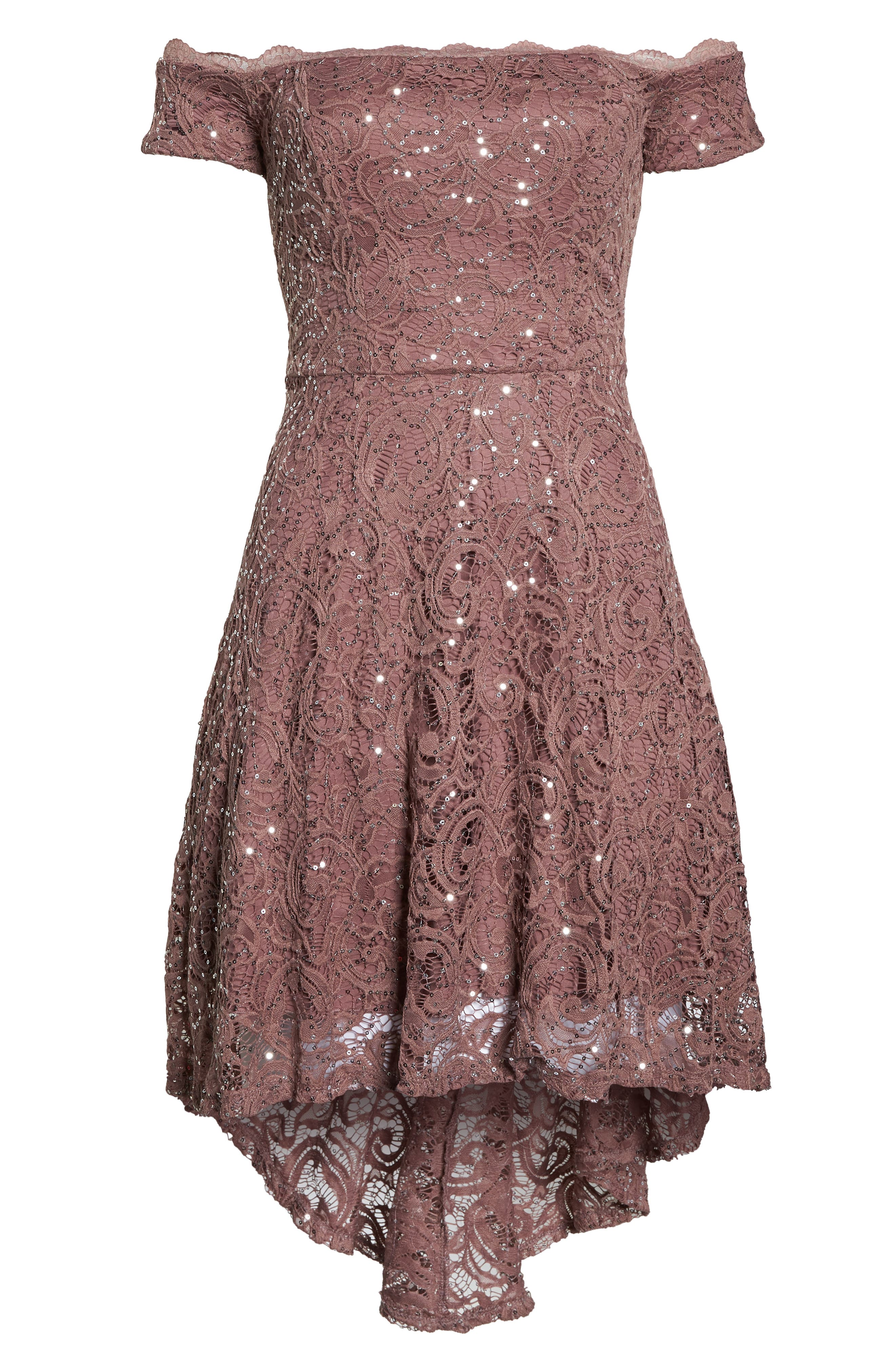 SEQUIN HEARTS,                             Off the Shoulder Sequin Lace Cocktail Dress,                             Alternate thumbnail 7, color,                             TAUPE/ SILVER