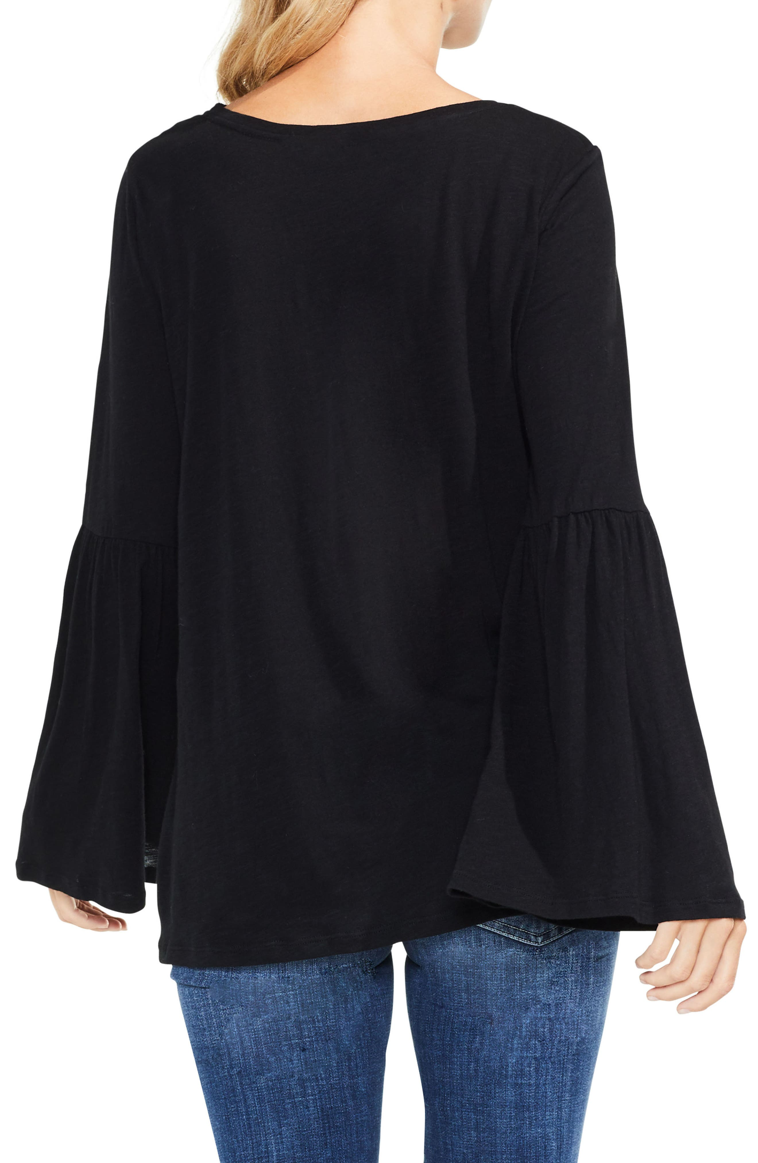 TWO BY VINCE CAMUTO,                             Bell Sleeve Cotton & Modal Top,                             Alternate thumbnail 2, color,                             006