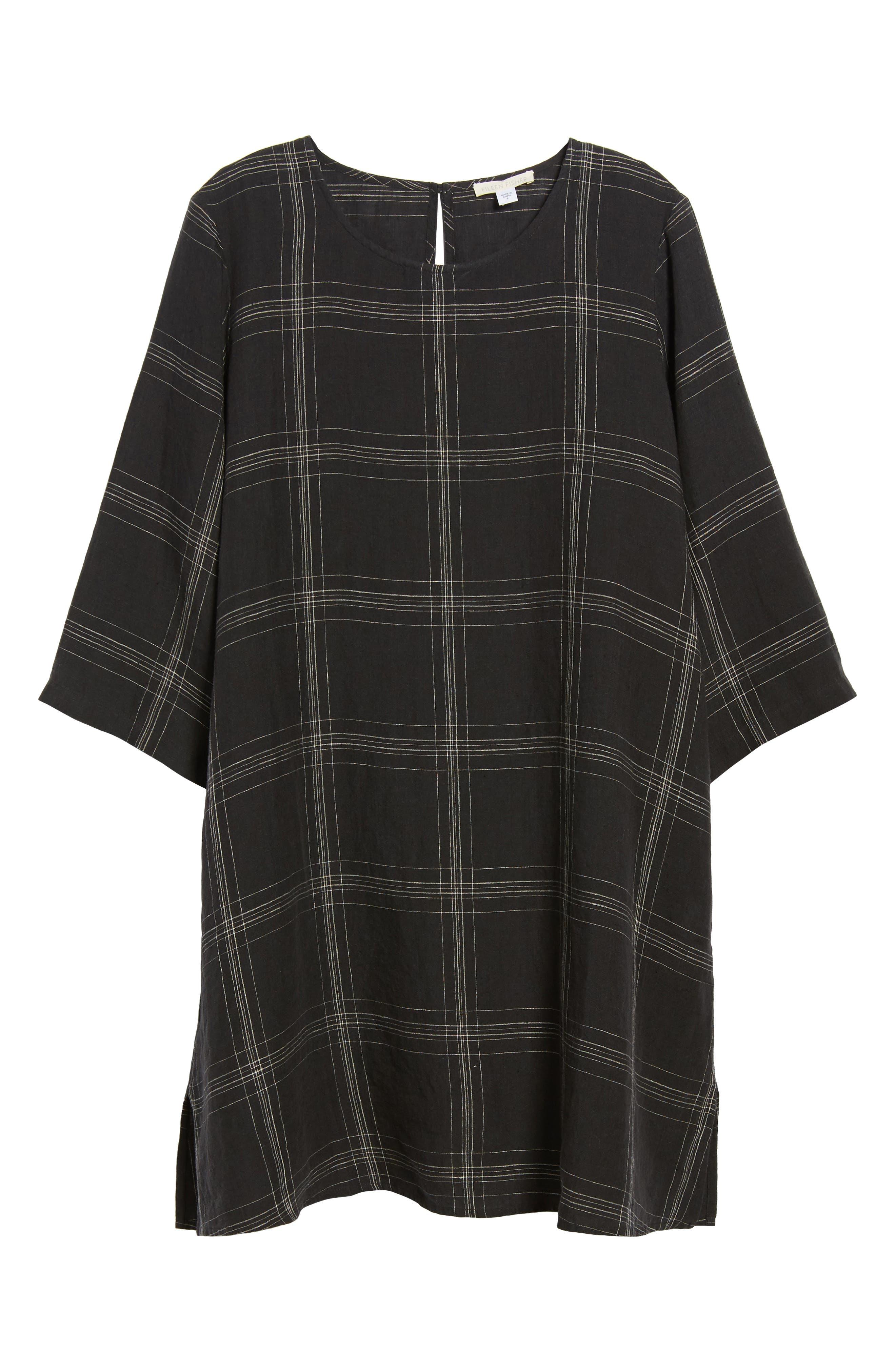 Plaid Organic Linen Tunic,                             Alternate thumbnail 6, color,                             001