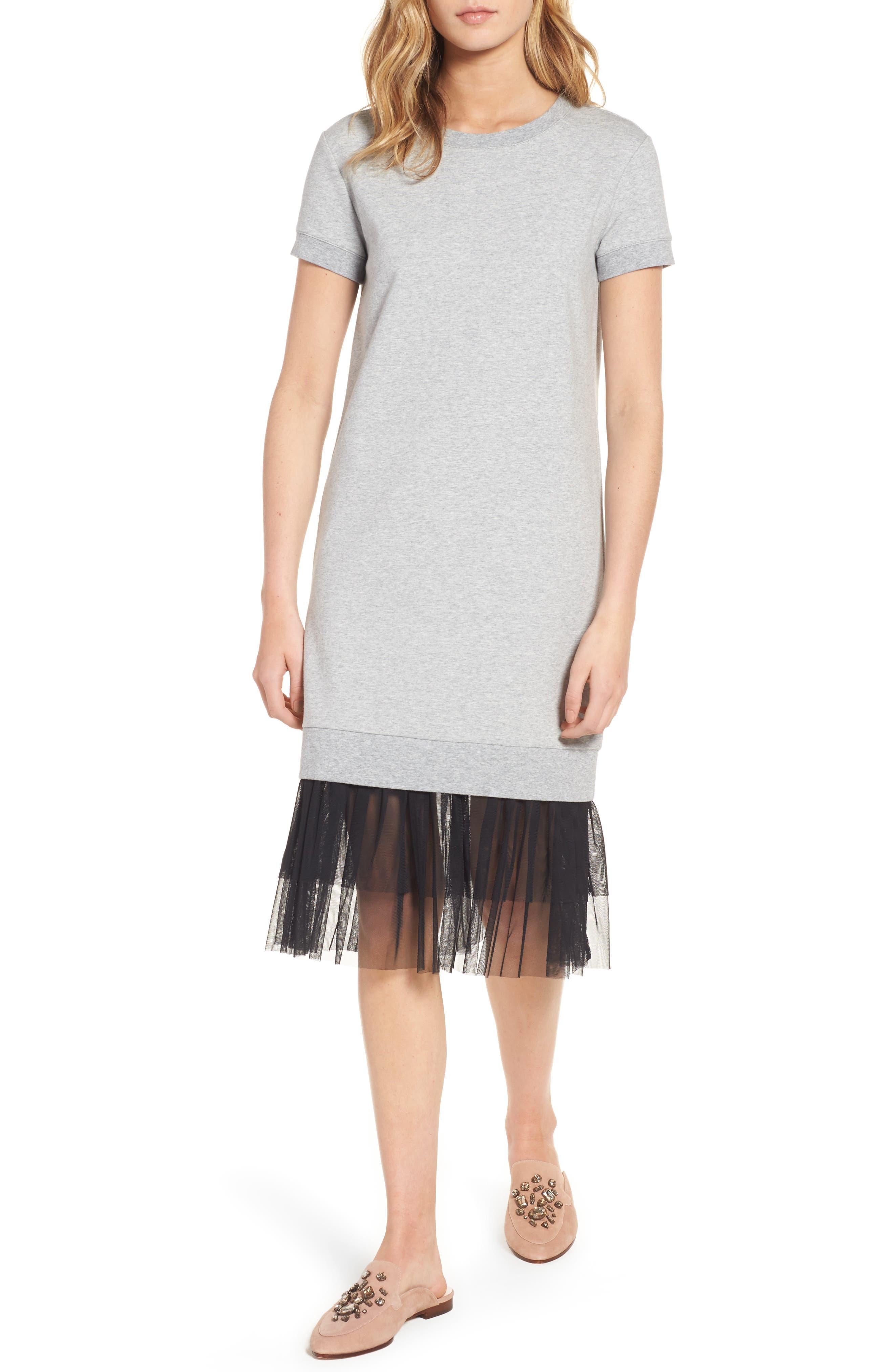Ruffle Hem Midi Dress,                             Main thumbnail 1, color,                             030
