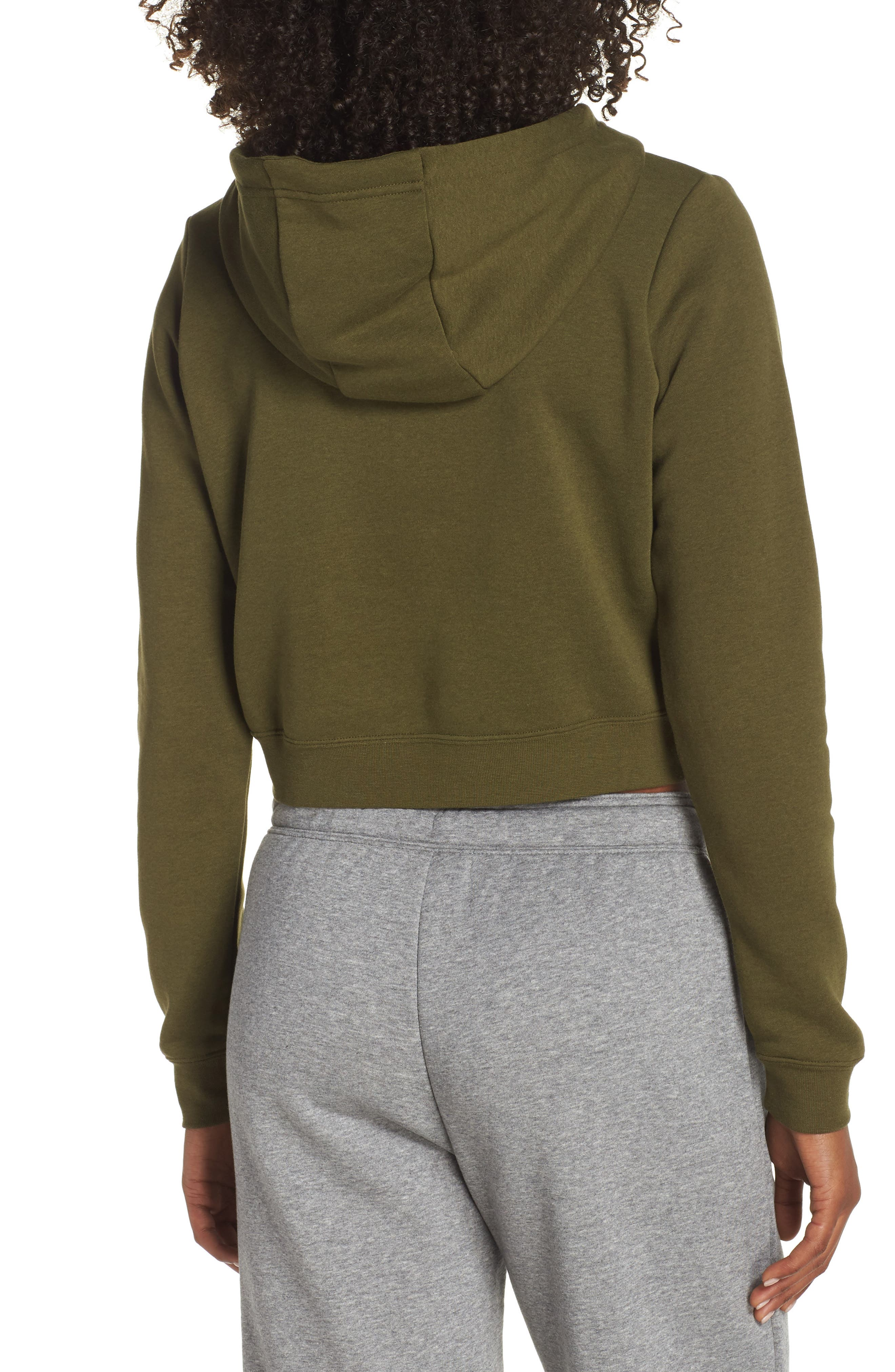 Sportswear Rally Crop Hoodie,                             Alternate thumbnail 2, color,                             OLIVE CANVAS/ WHITE