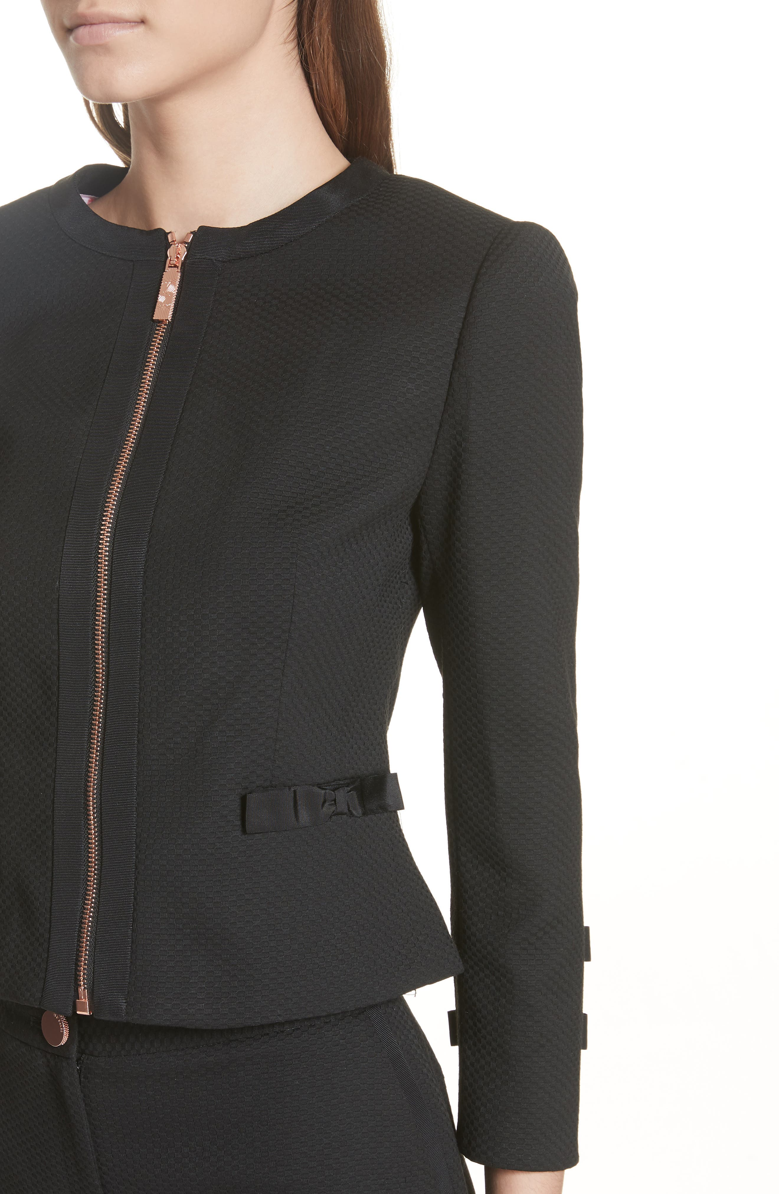 Ted Working Title Nadae Cropped Textured Jacket,                             Alternate thumbnail 4, color,                             BLACK