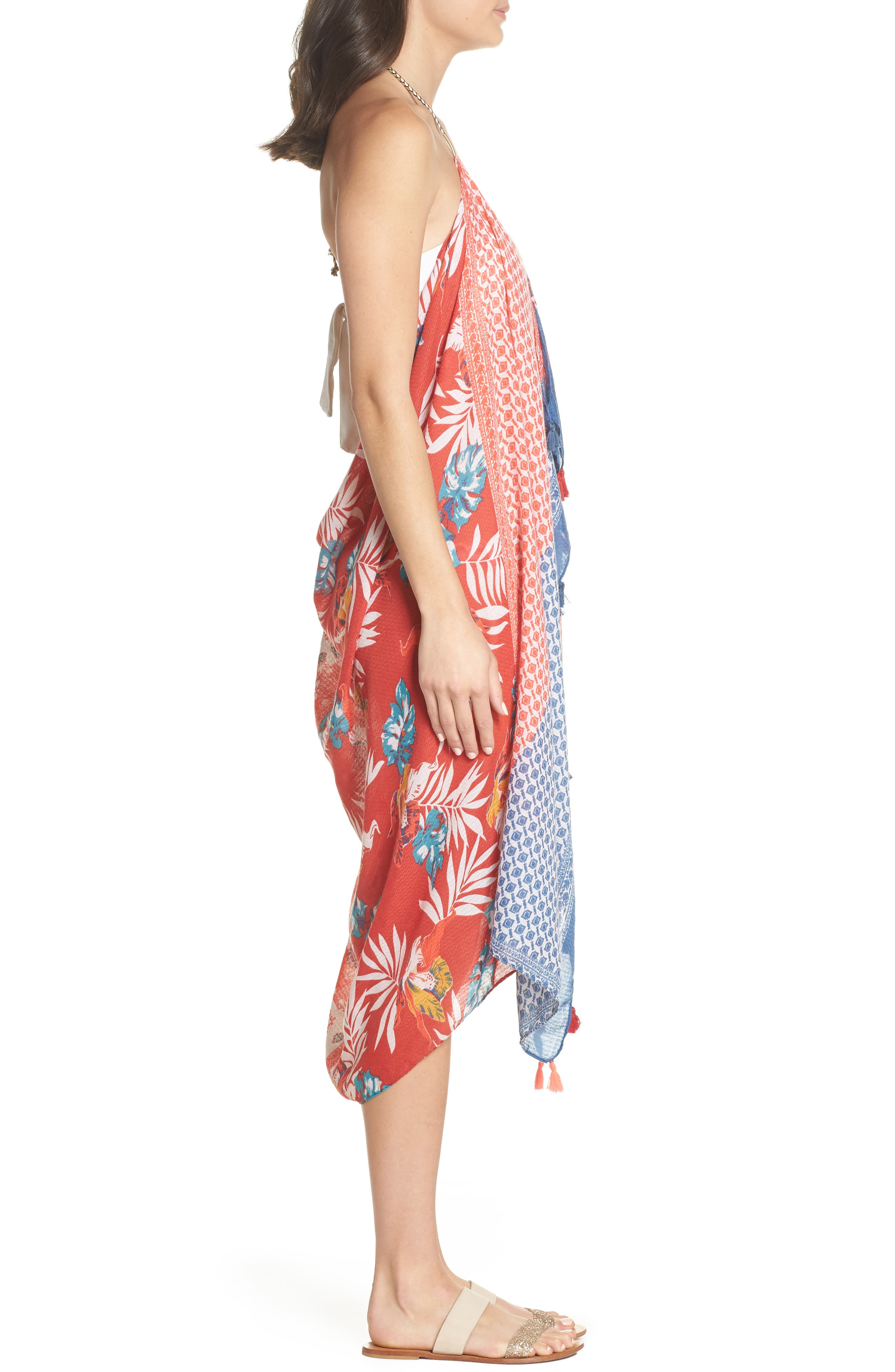 Beach to Street Cover-Up Maxi Dress,                             Alternate thumbnail 3, color,                             RED MULTI