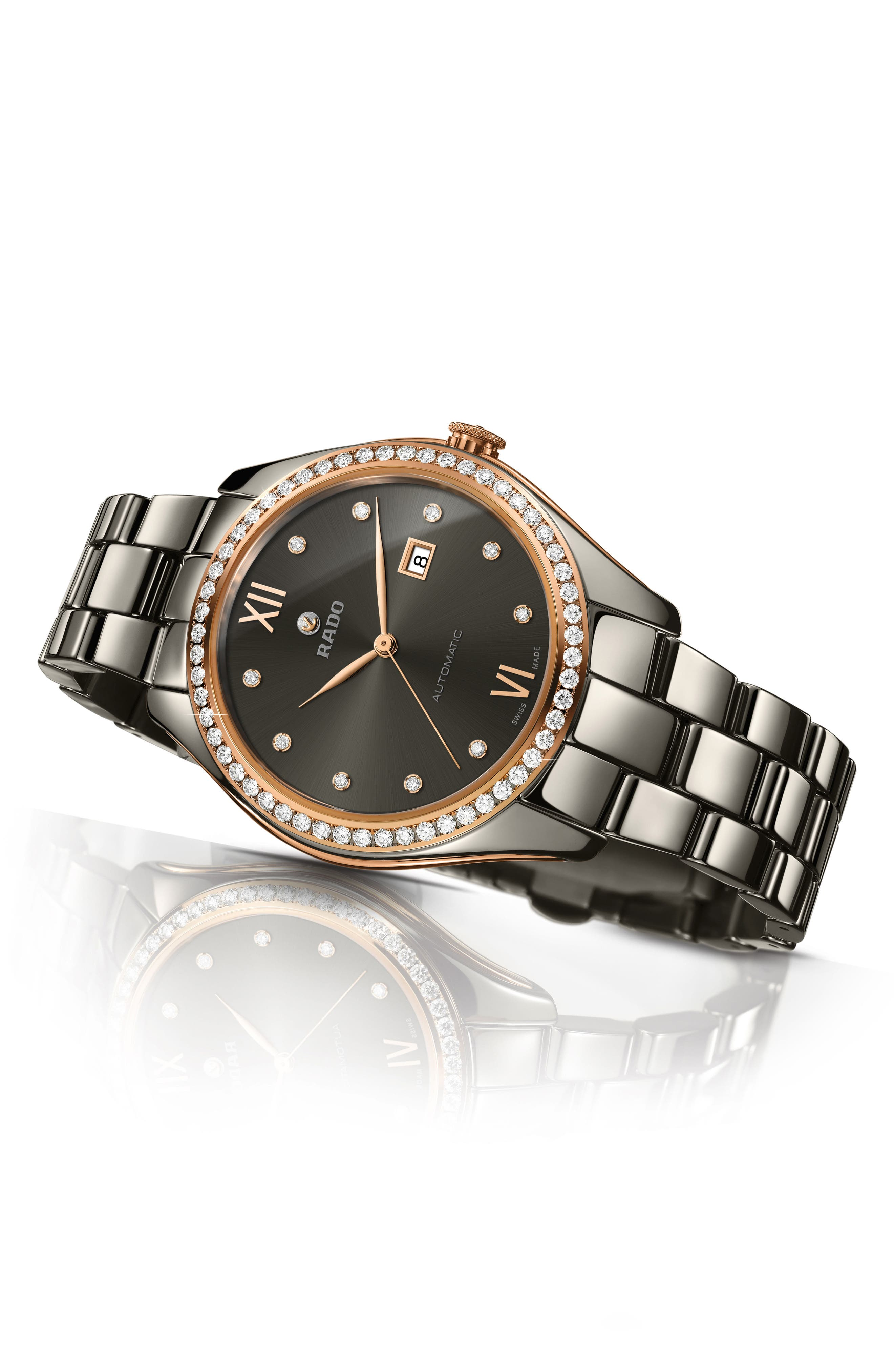 HyperChrome Automatic Diamond Ceramic Bracelet Watch, 36mm,                             Alternate thumbnail 4, color,                             PLASMA/ ROSE GOLD