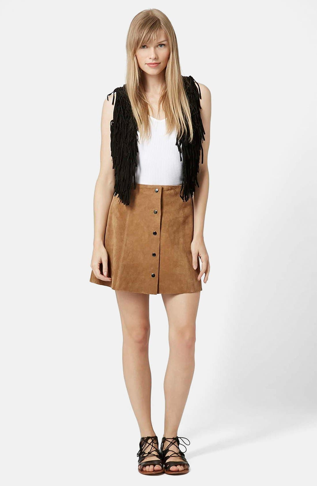 Suede A-Line Skirt,                             Alternate thumbnail 3, color,                             210