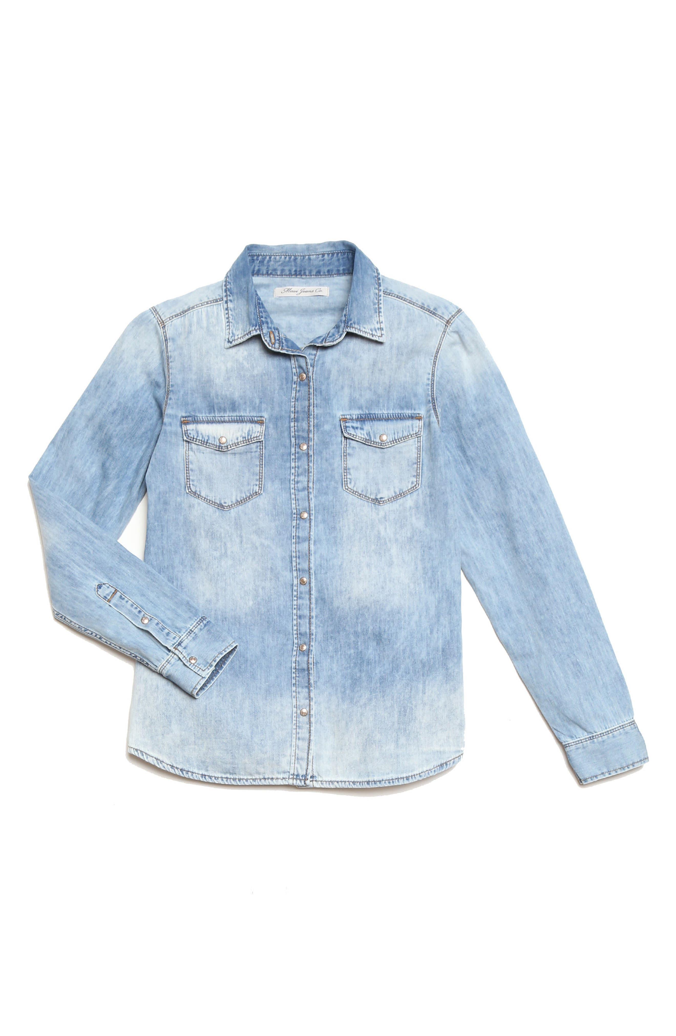 Mavi Isabel Rose Embroidery Denim Shirt,                             Alternate thumbnail 4, color,                             420