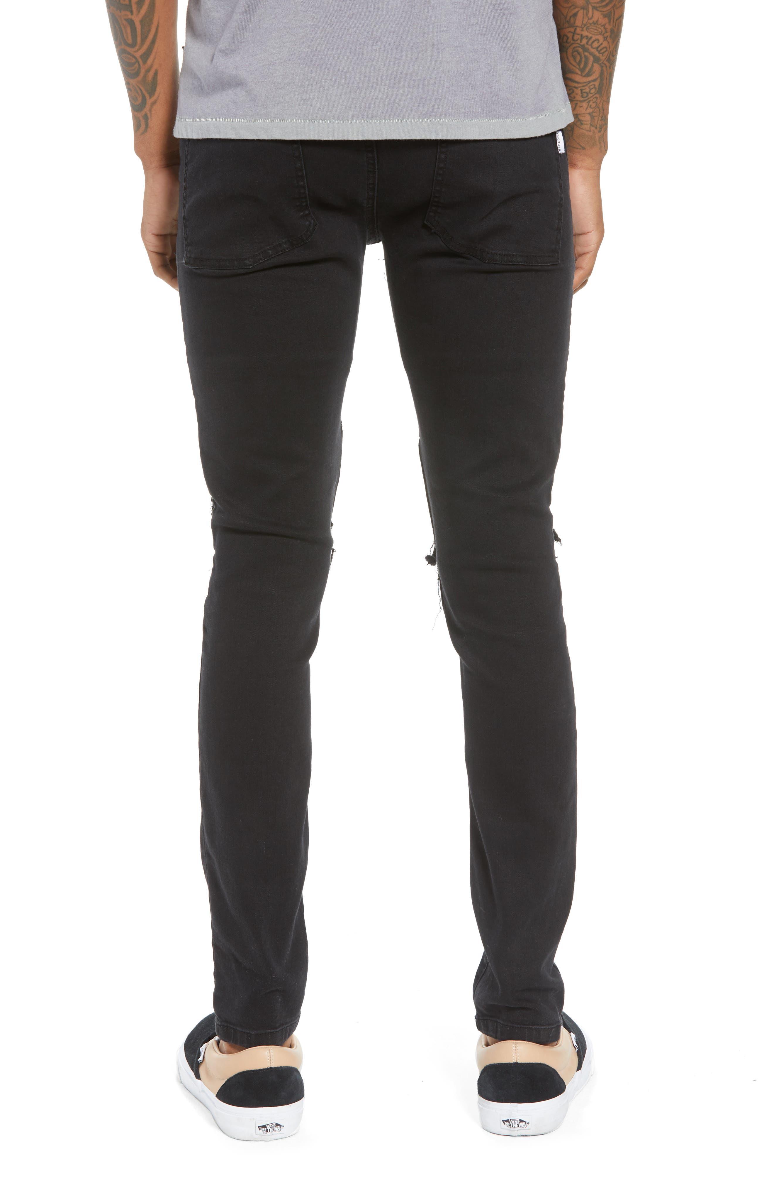 Combination Moto Skinny Moto Jeans,                             Alternate thumbnail 2, color,                             BLACK