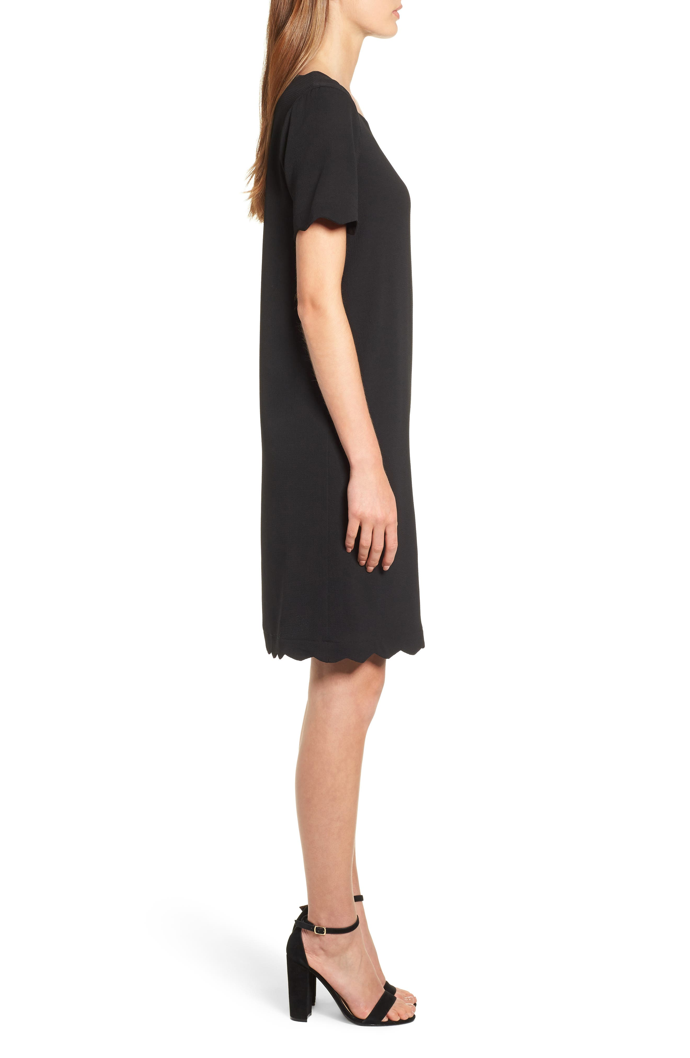 Scallop Shift Dress,                             Alternate thumbnail 3, color,                             BLACK