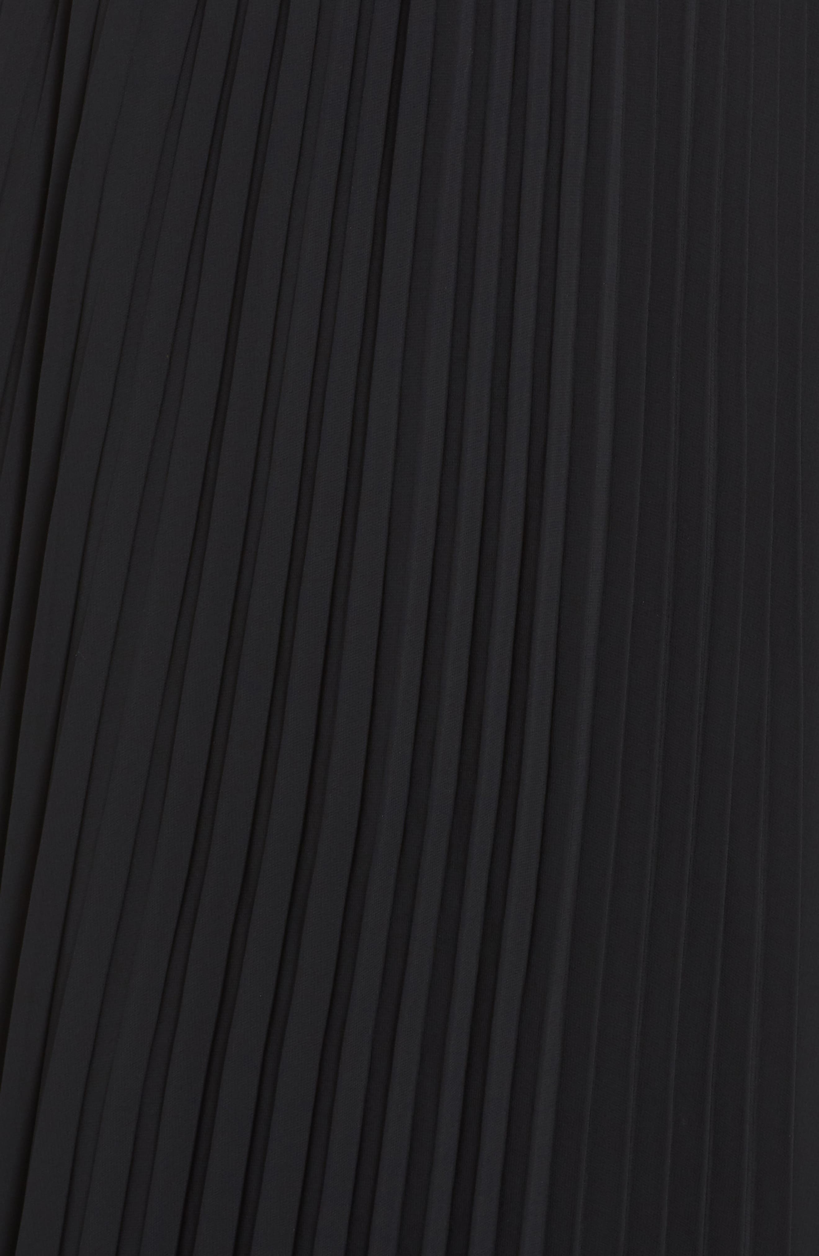 Long Pleated Chiffon Skirt,                             Alternate thumbnail 5, color,                             BLACK