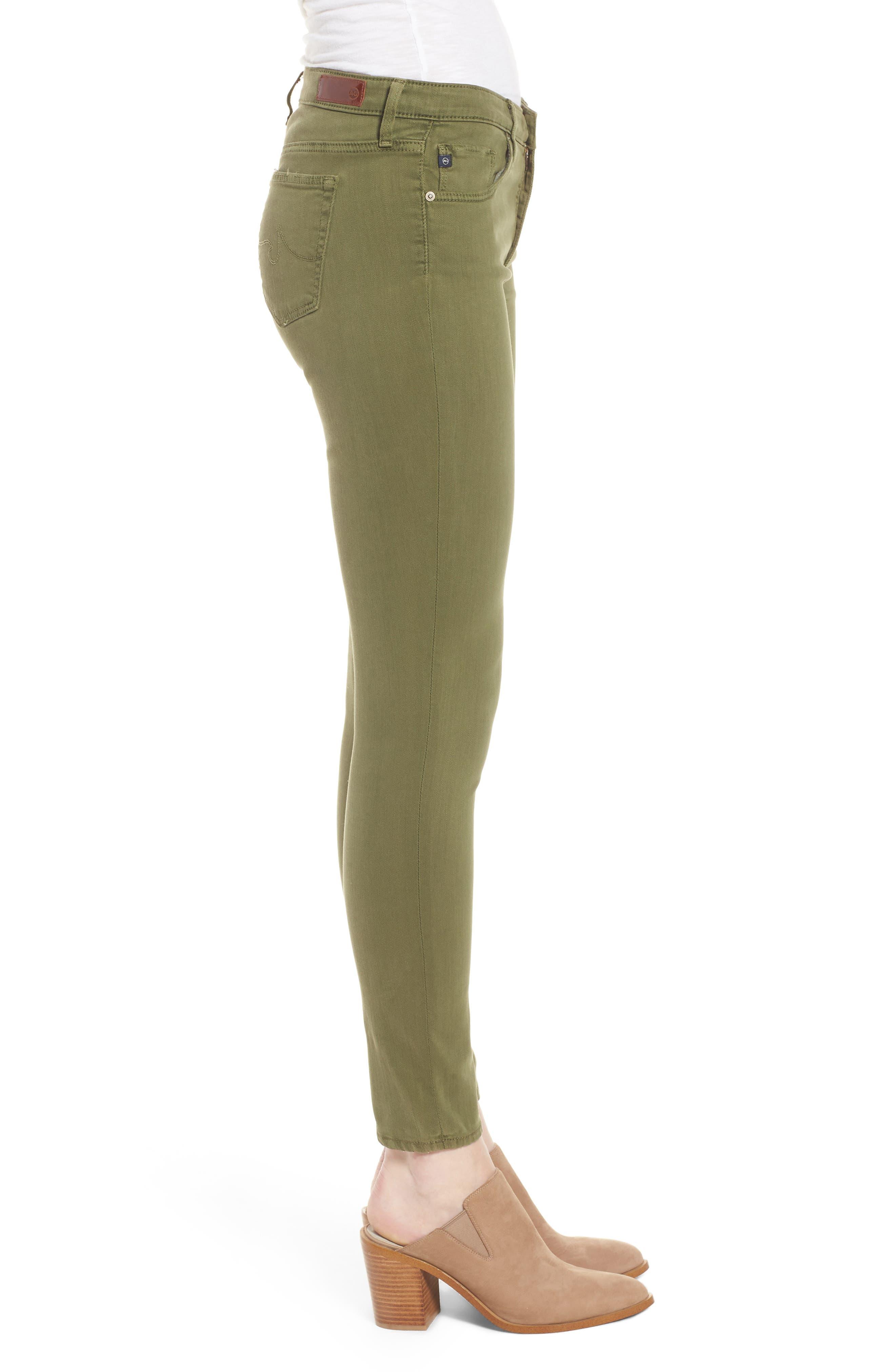 'The Legging' Ankle Jeans,                             Alternate thumbnail 3, color,                             SULFUR OLIVE GROVE