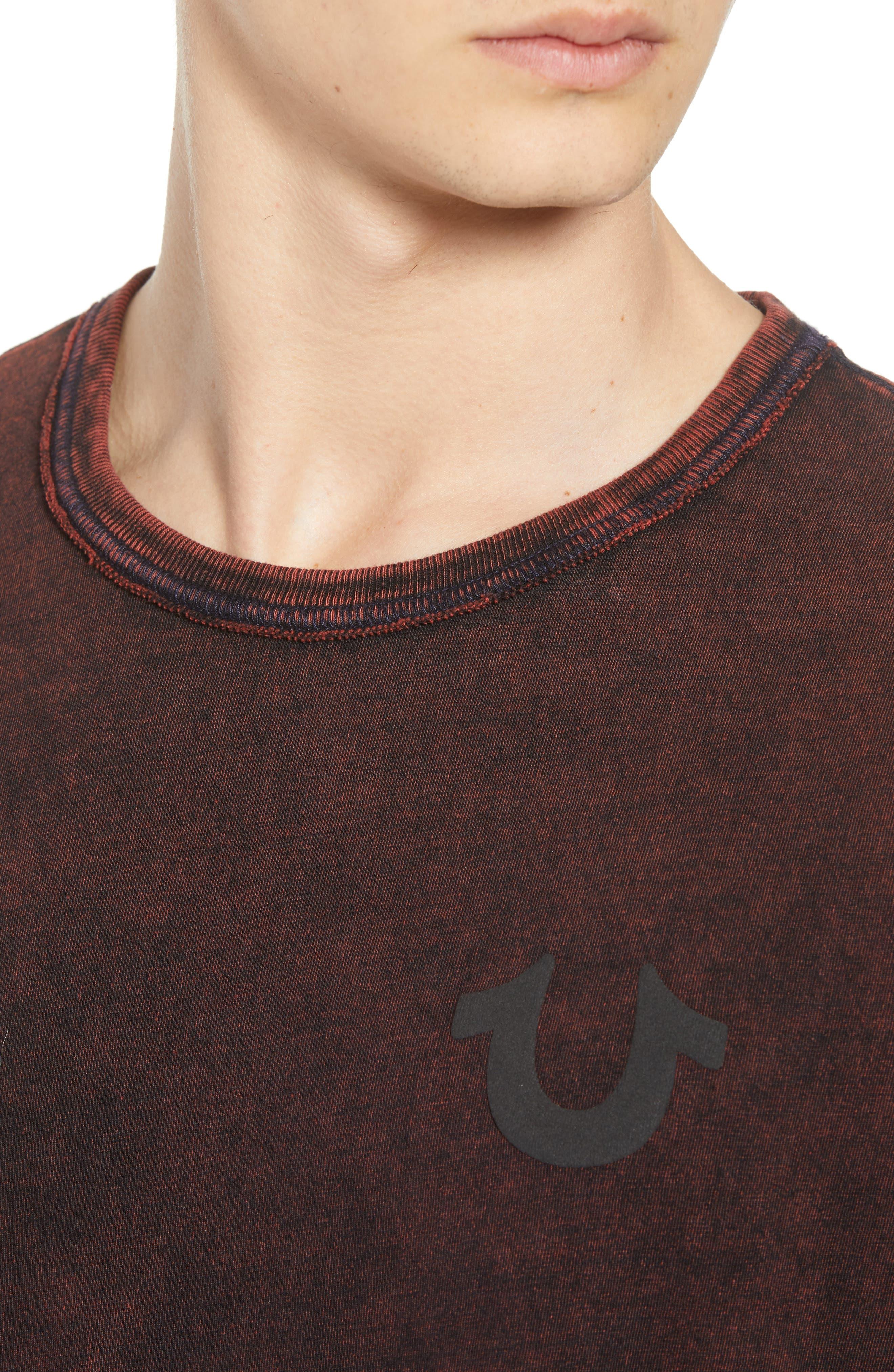 Washed Indigo Logo T-Shirt,                             Alternate thumbnail 4, color,                             INDIGO/ SUNBURST ORANGE COMBO