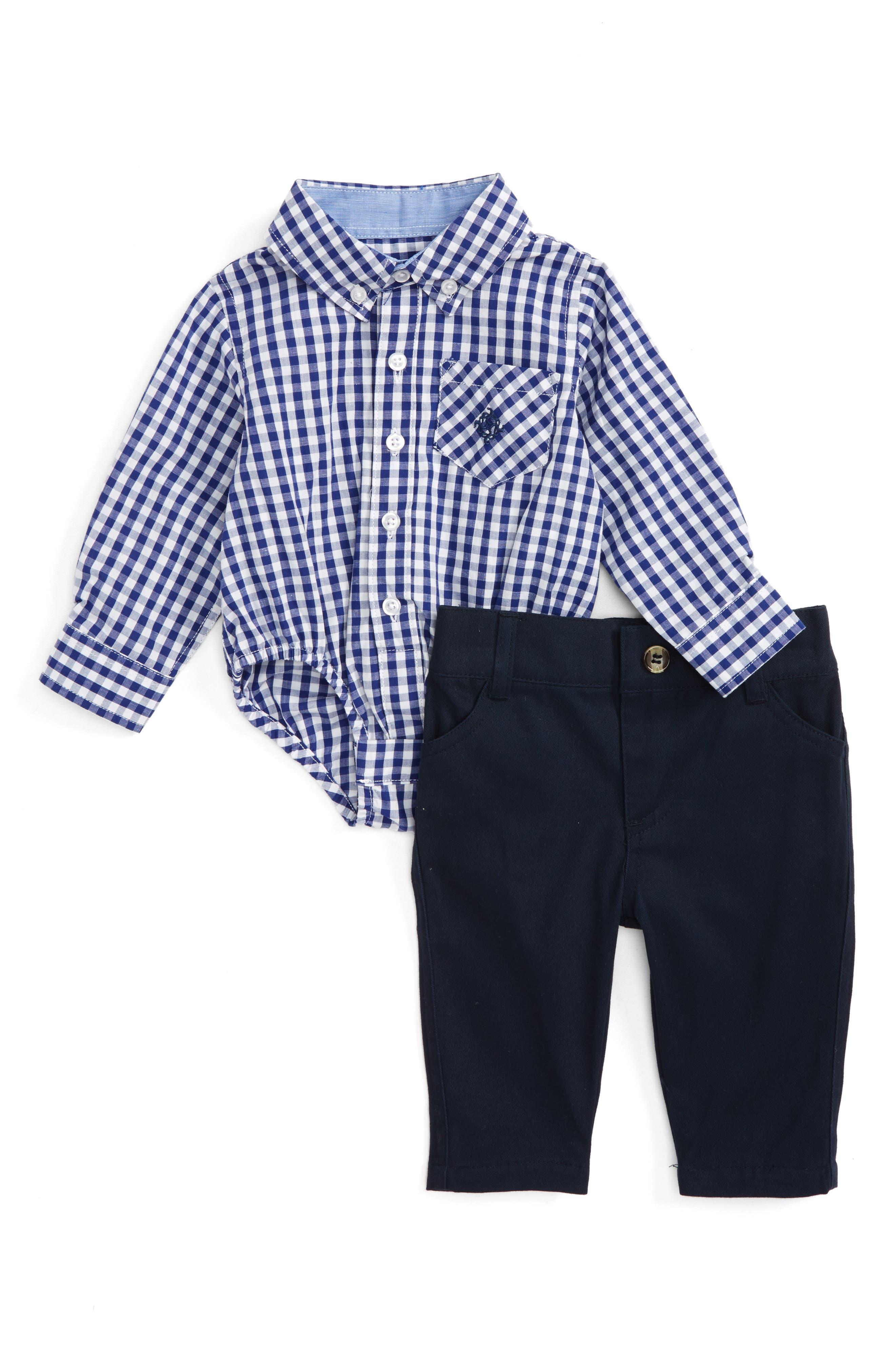 Shirtzie Gingham Bodysuit & Pants Set,                             Main thumbnail 1, color,                             410